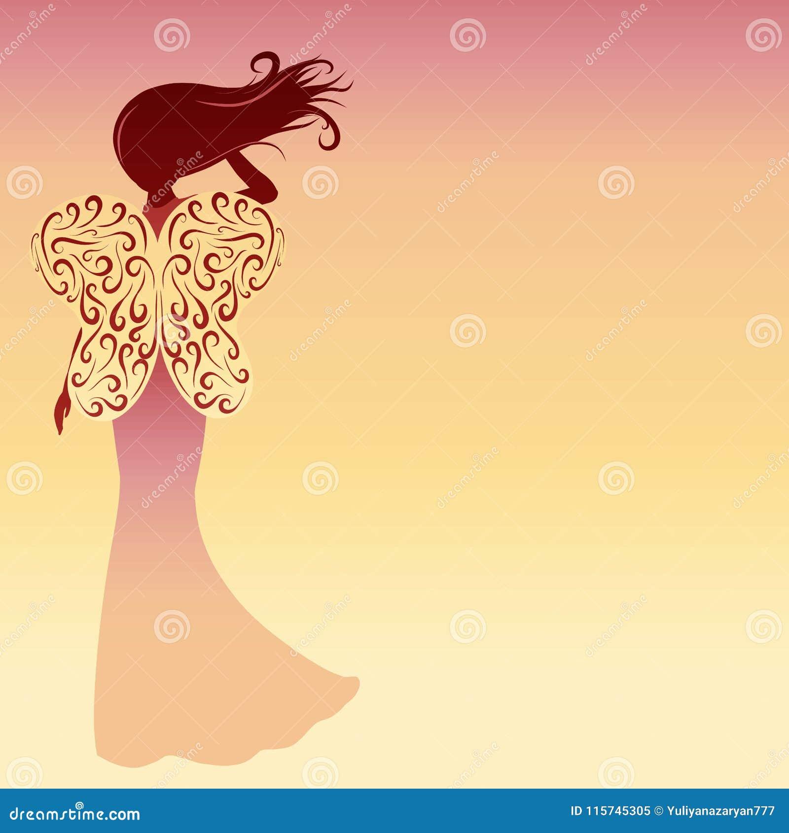 Schattenbild einer Dame mit Schmetterling beflügelt auf ein Steigung backgrou