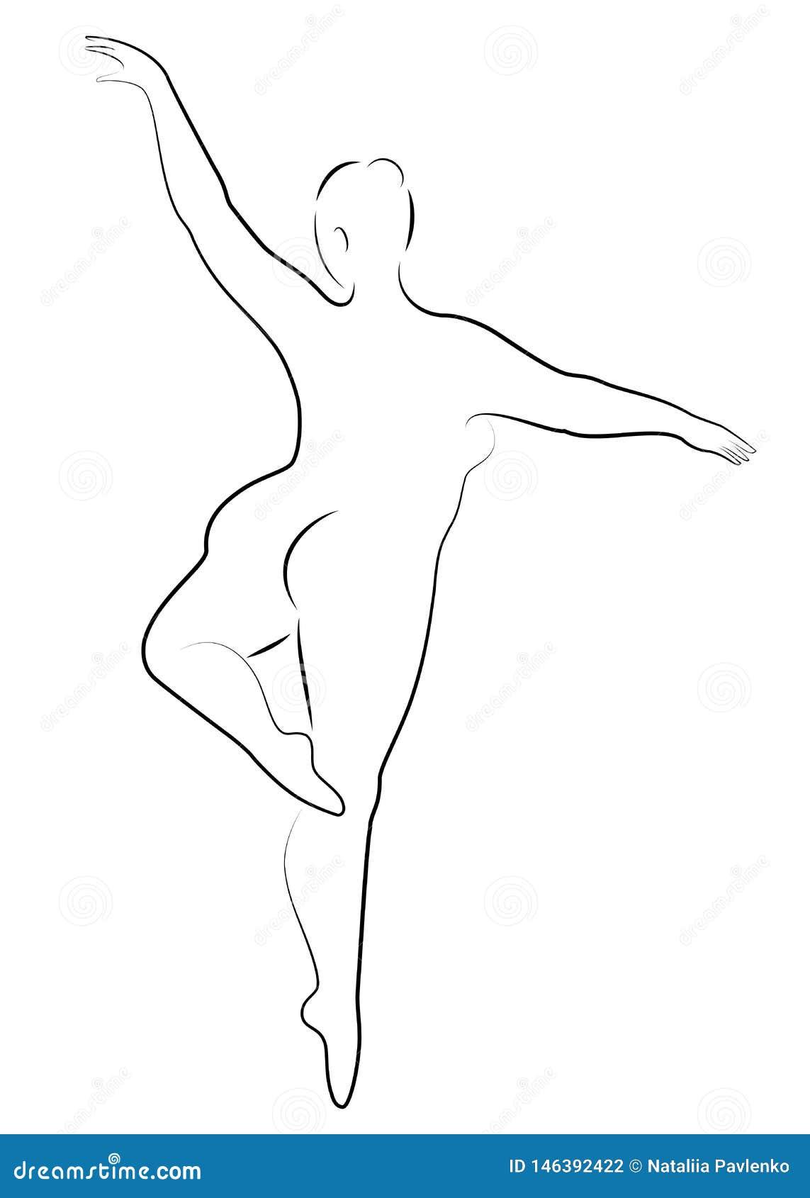Schattenbild einer netten Dame, tanzt sie Ballett Die Frau hat einen ?berladenen K?rper M?dchen ist prall Frauenballerina, Turner