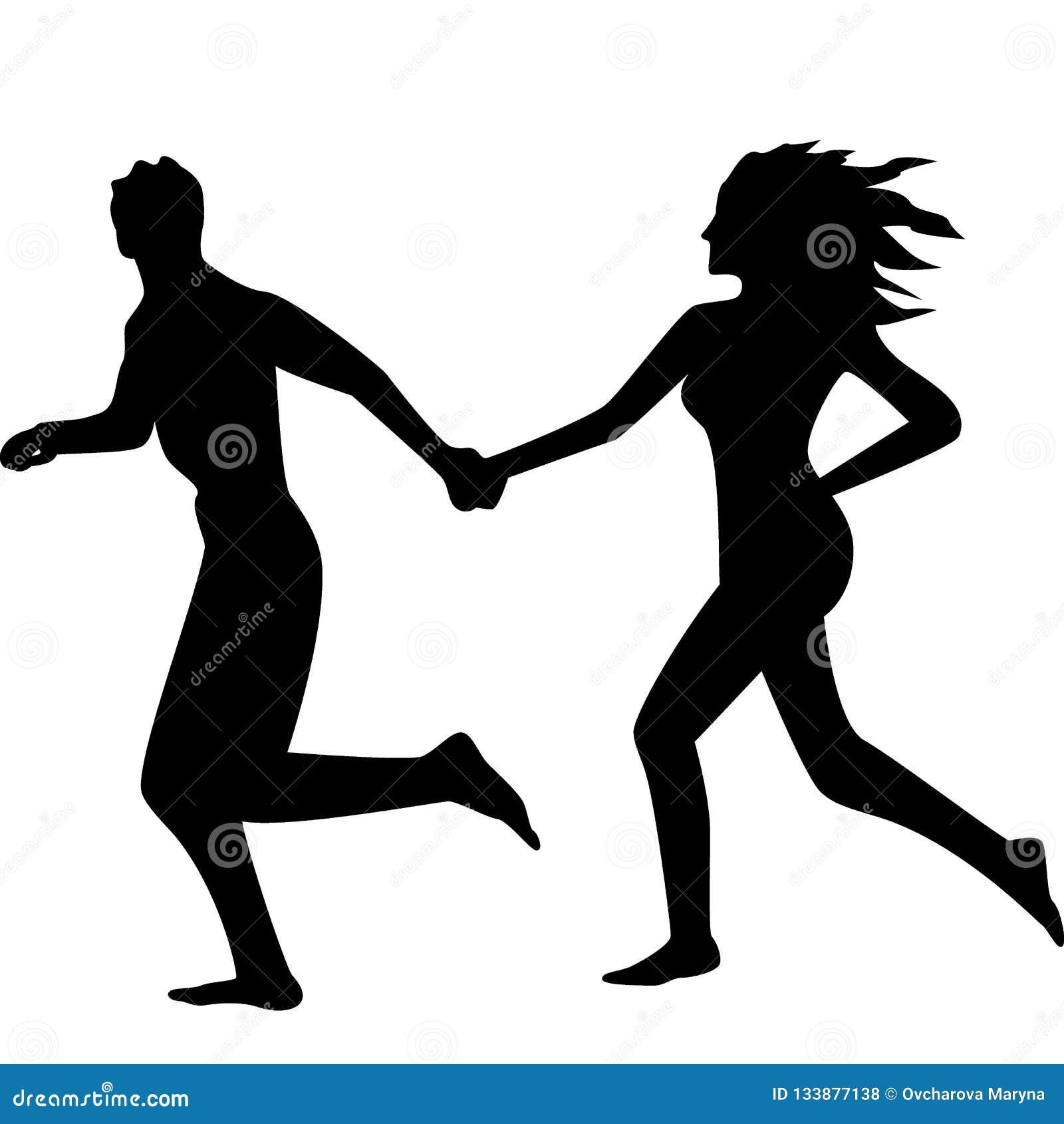 Schattenbild eines laufenden Paares