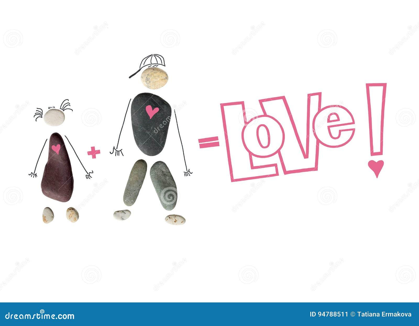 Schattenbild eines Mannes und der Frau, ein Paar von den Steinen Die Aufschrift ` Liebe! `, Zeichen plus und Gleichgestelltes Beg