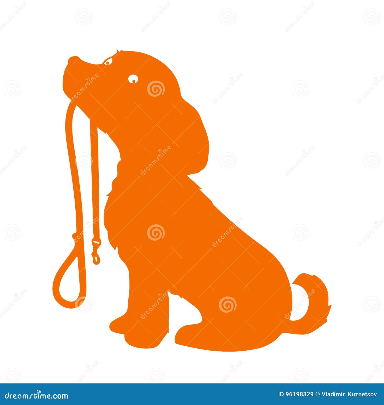Schattenbild eines sitzenden Hundes, der es hält, ist Leine in seinem Mund und geduldig wartet, um spazierenzugehen