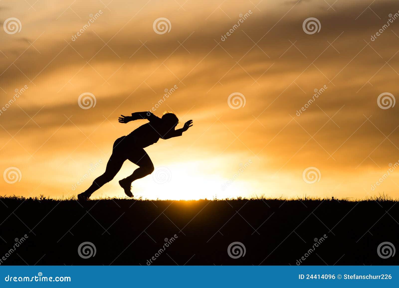Schattenbild eines Sprinters