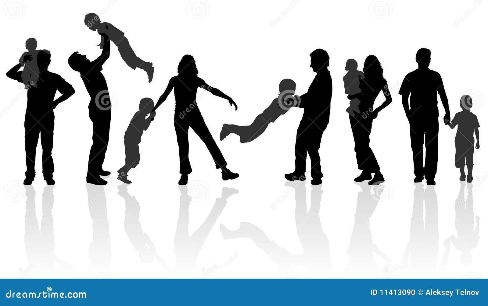 Schattenbild-glückliche Familie