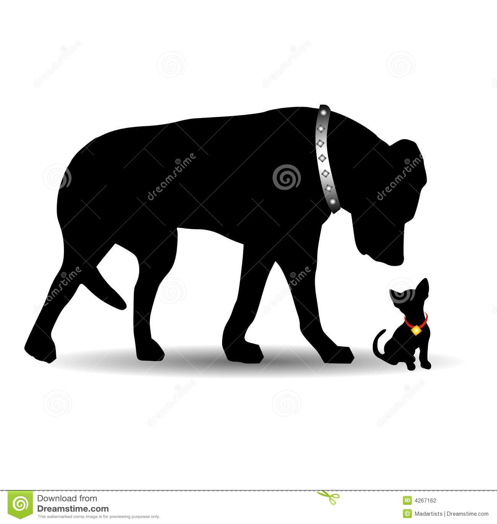 Schattenbild-großer Hundekleiner Hund