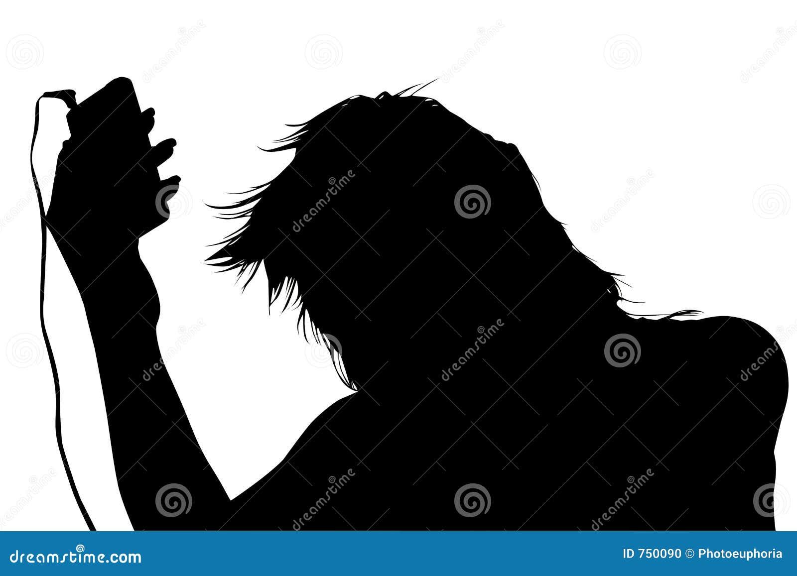 Schattenbild mit Ausschnitts-Pfad des Mädchens mit Digital-Musik-Spieler