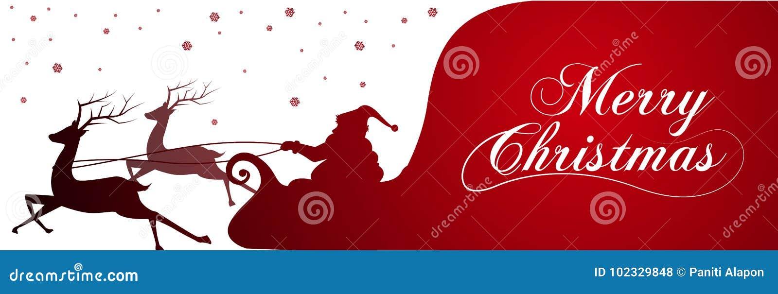 Schattenbild mit Santa Claus und Tasche voll von Geschenken auf Winterhintergrund Karikaturszene Beschriftung von frohen Weihnach