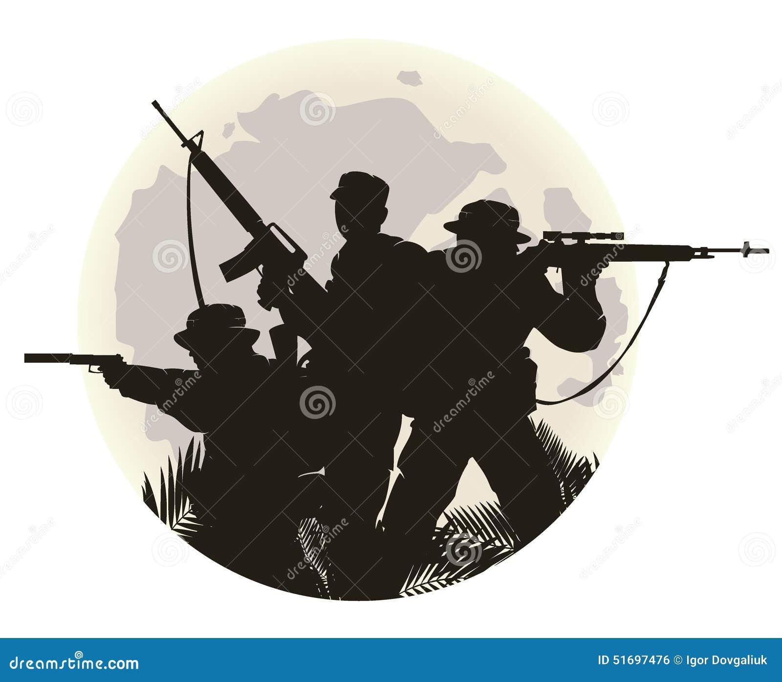 Schattenbild von Soldaten