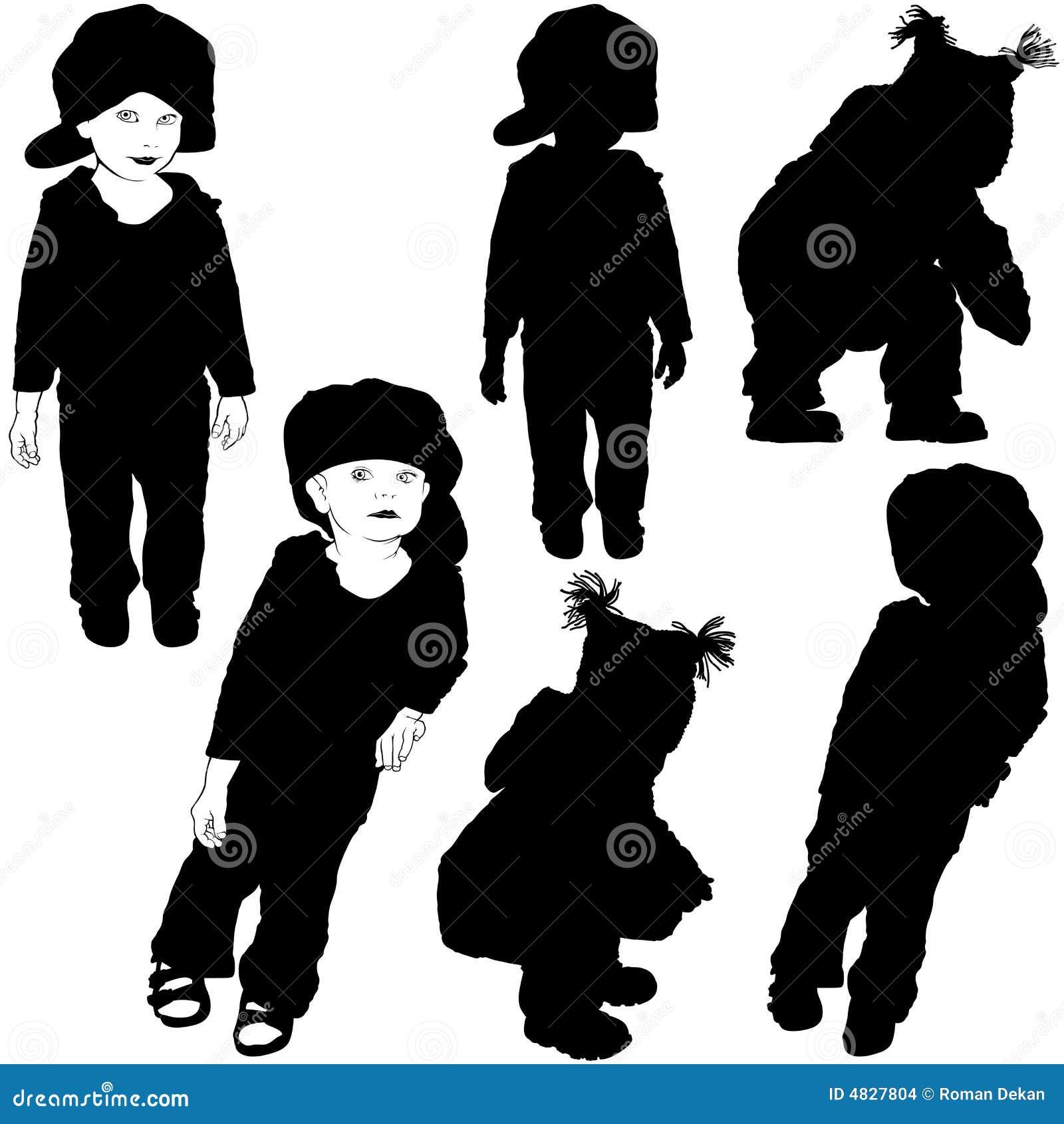 Schattenbilder 07 der kinder vektor abbildung - Schattenbilder kinder ...