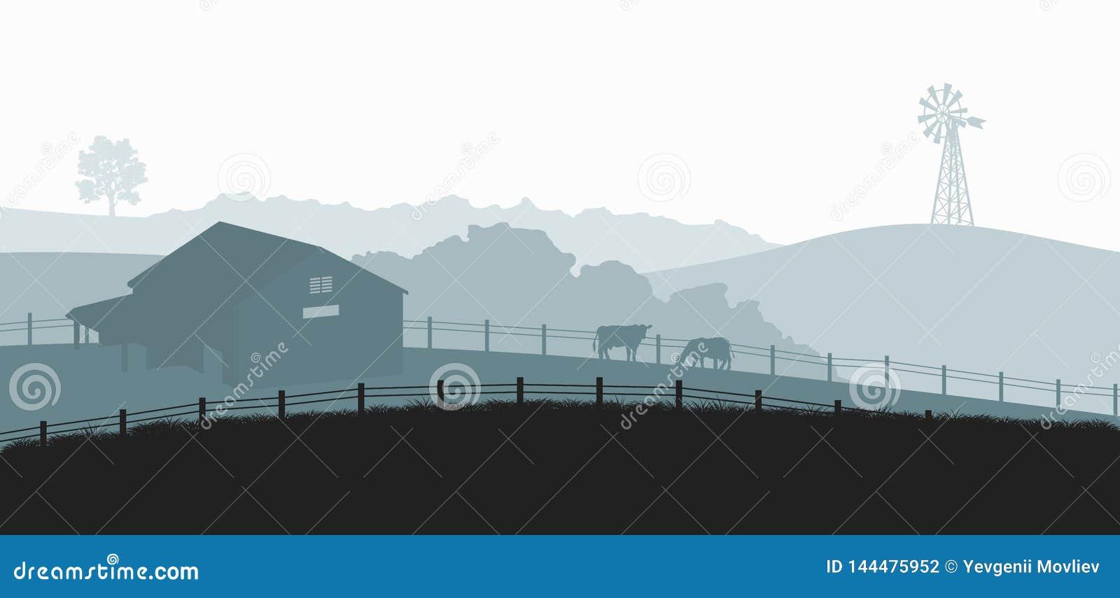Schattenbilder der Bauernhoflandschaft Ländliches Panorama von runch mit Kuh auf Wiese Dorflandschaft f?r Plakat Landwirthaus