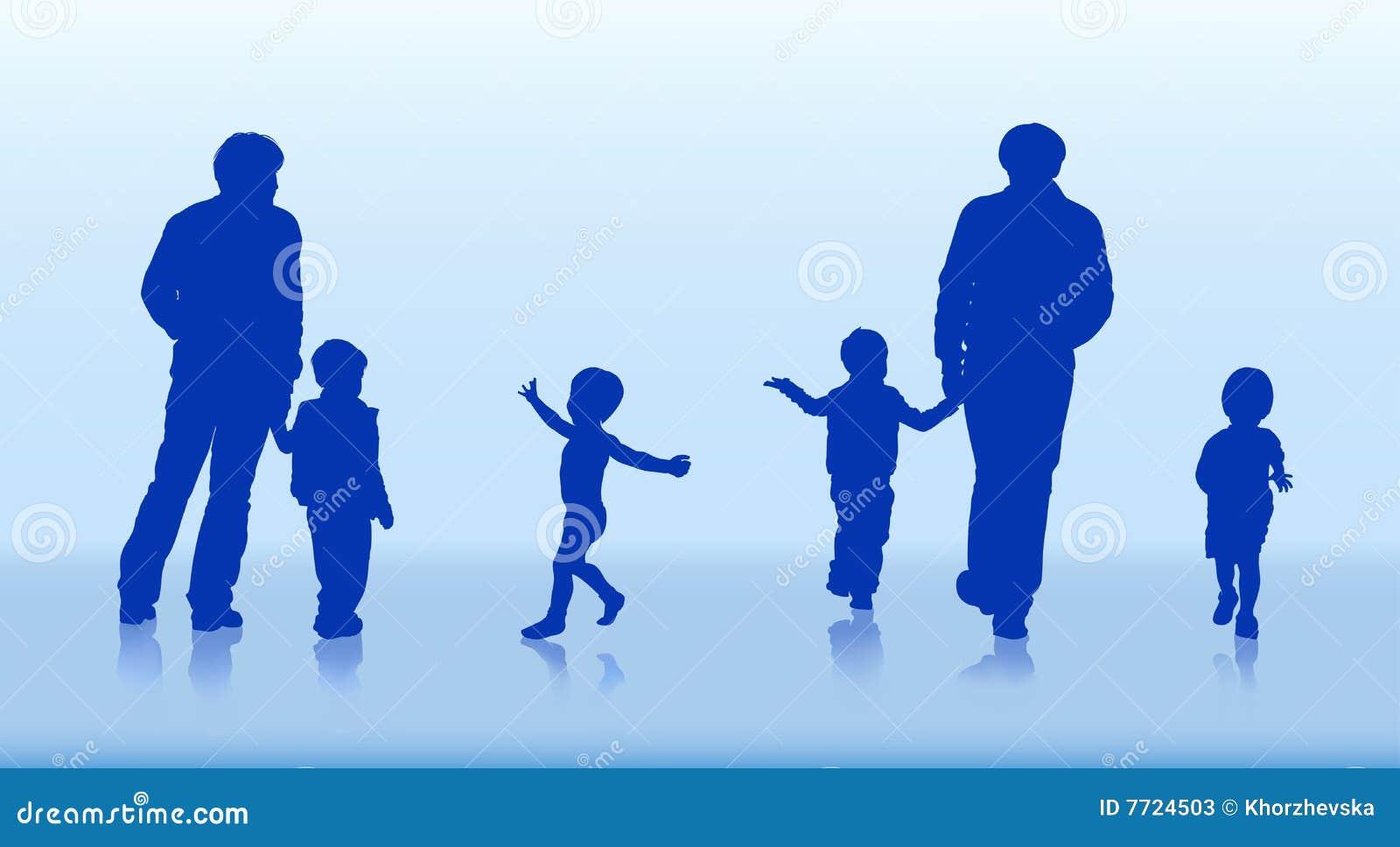 Schattenbilder der familie und der kinder stock abbildung - Schattenbilder kinder ...