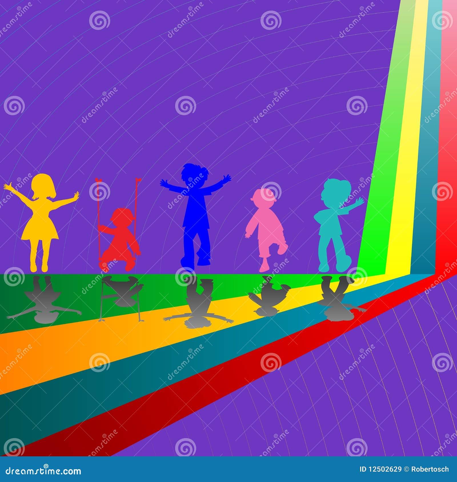 Schattenbilder der kinder die auf purpur spielen vektor - Schattenbilder kinder ...