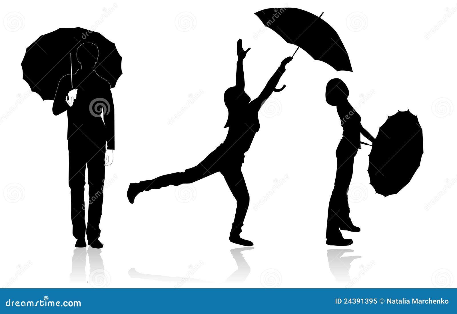 Schattenbilder Mit Regenschirmen Vektor Abbildung