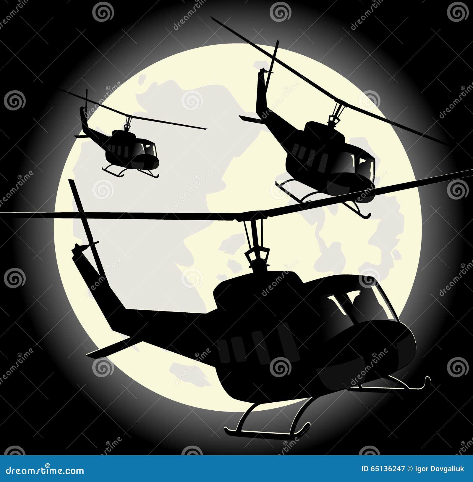 Schattenbilder von Militärhubschraubern