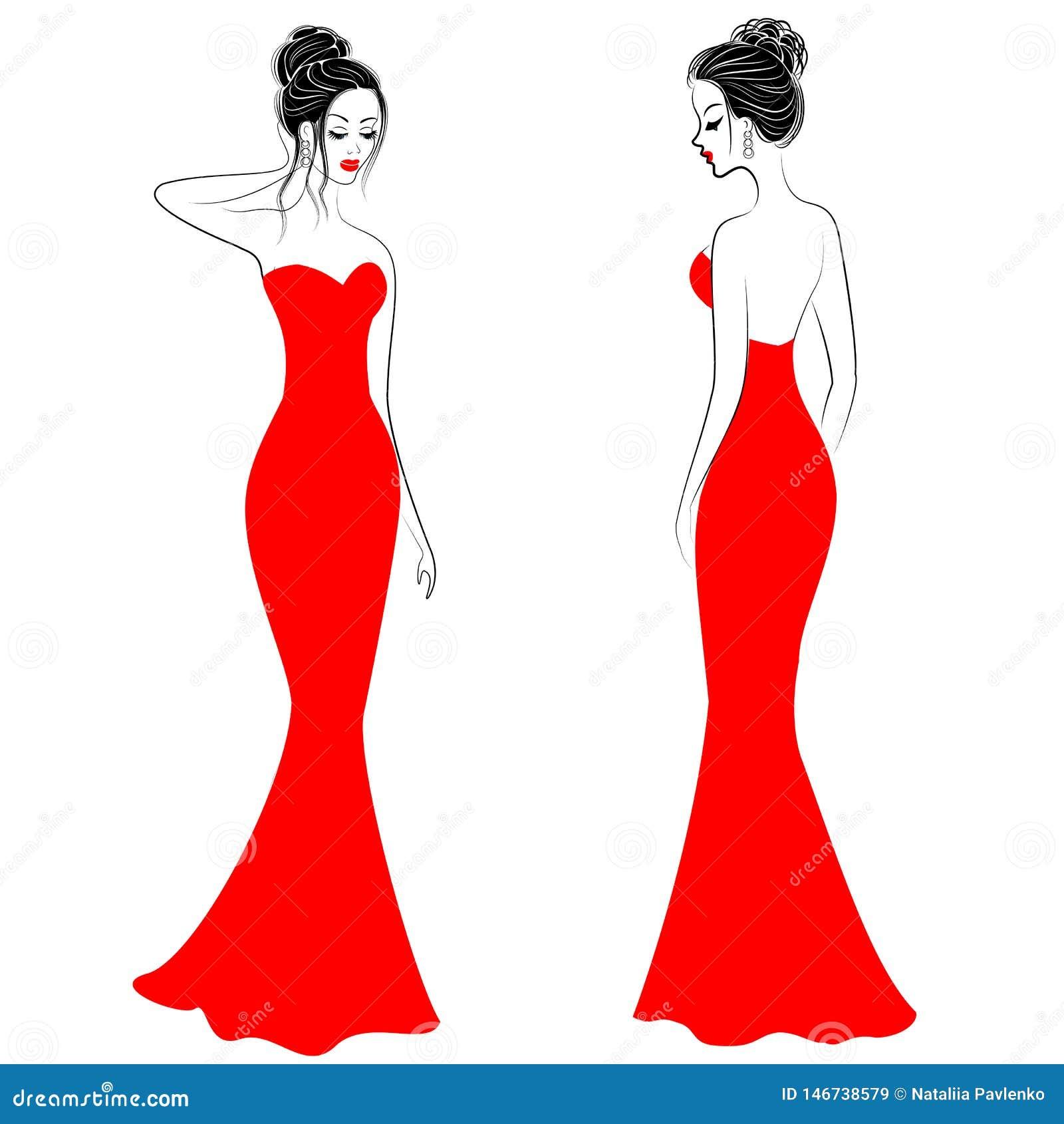 Schattenbilder von netten Damen in den roten festlichen Kleidern Mädchen zeigen eine in vorderem und in hinterem fixiert zu werde
