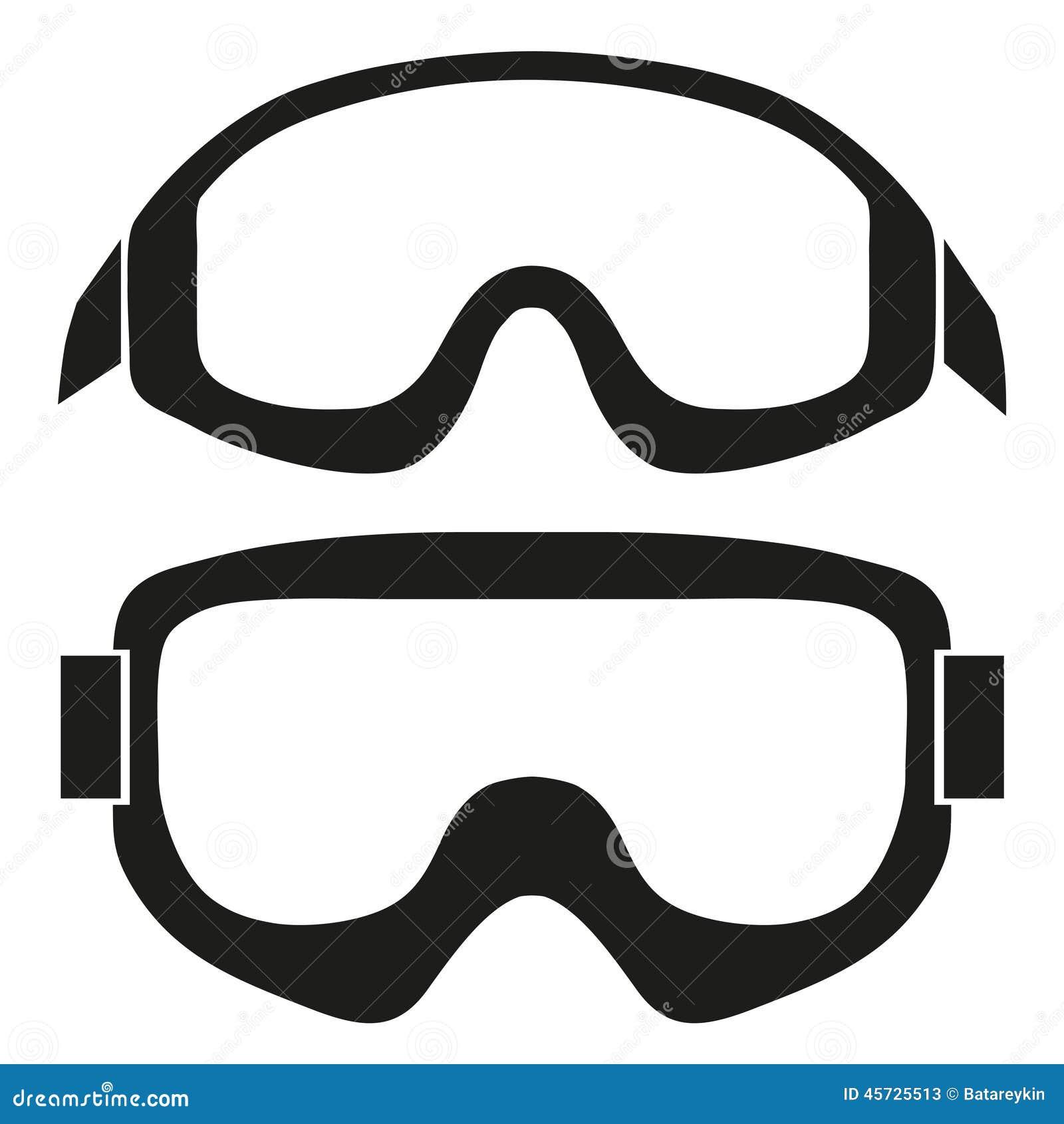 Schattenbildsymbol von klassischen Snowboardskischutzbrillen