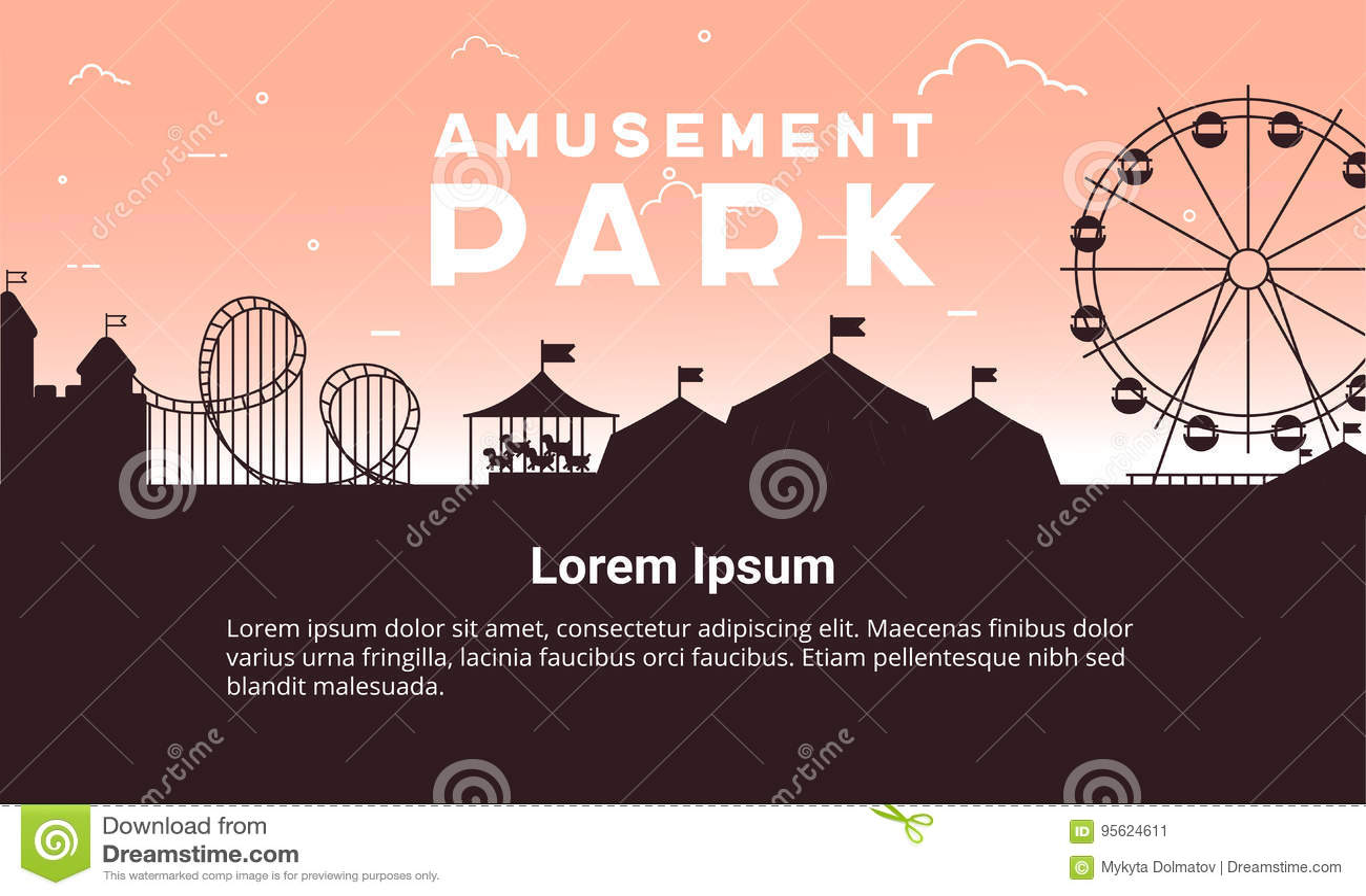 SchattenbildVergnügungsparklandschaft flach Vergnügungsparkillustration für infographic Kartendesign