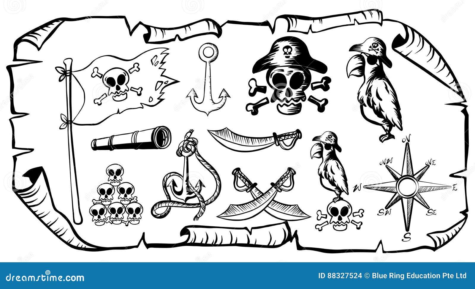 schatzkarte mit piratensymbolen vektor abbildung