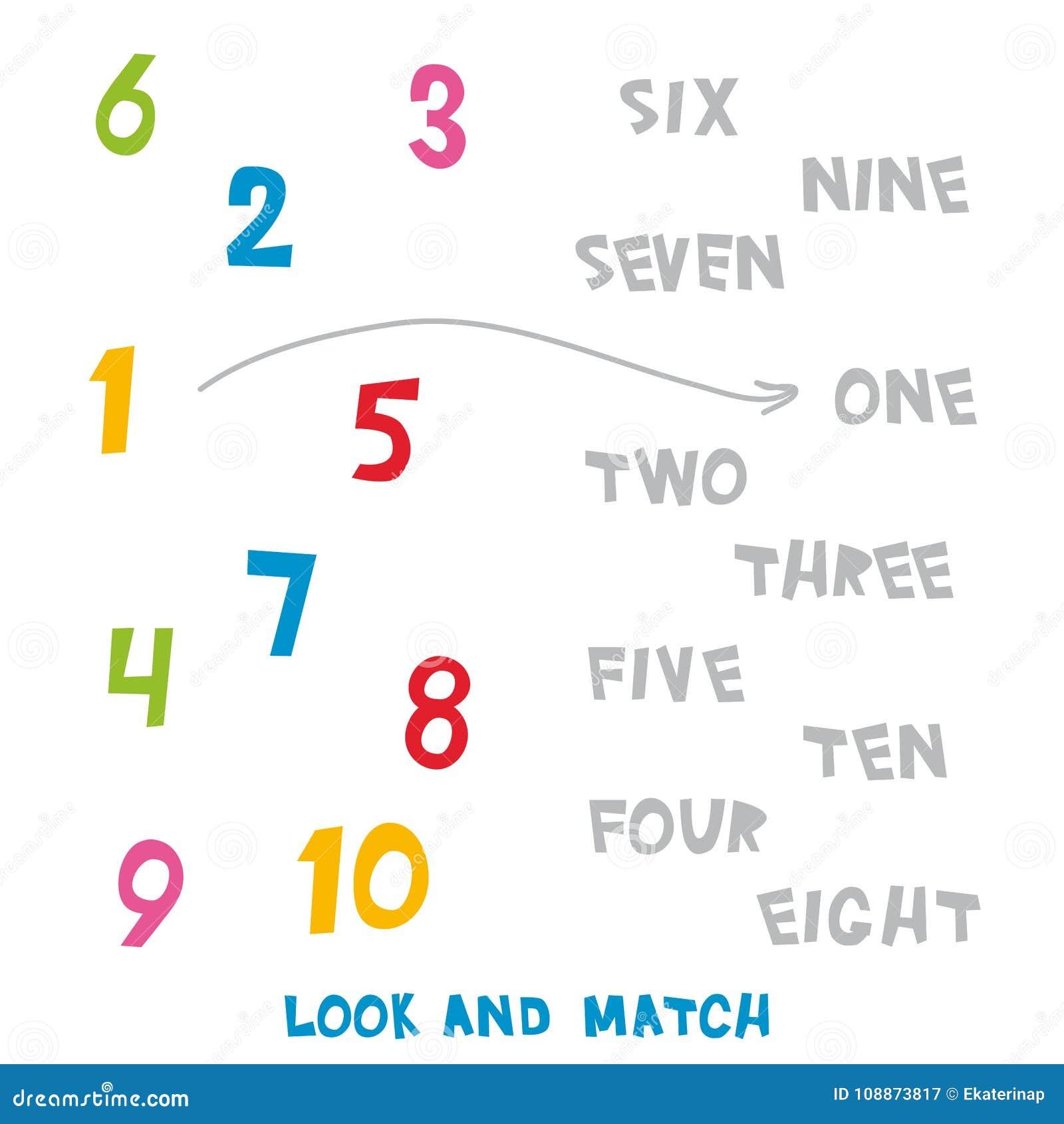 Schauen Sie Und Bringen Sie Die Nr. 1 Bis 10 Zusammen Kinder Fasst ...
