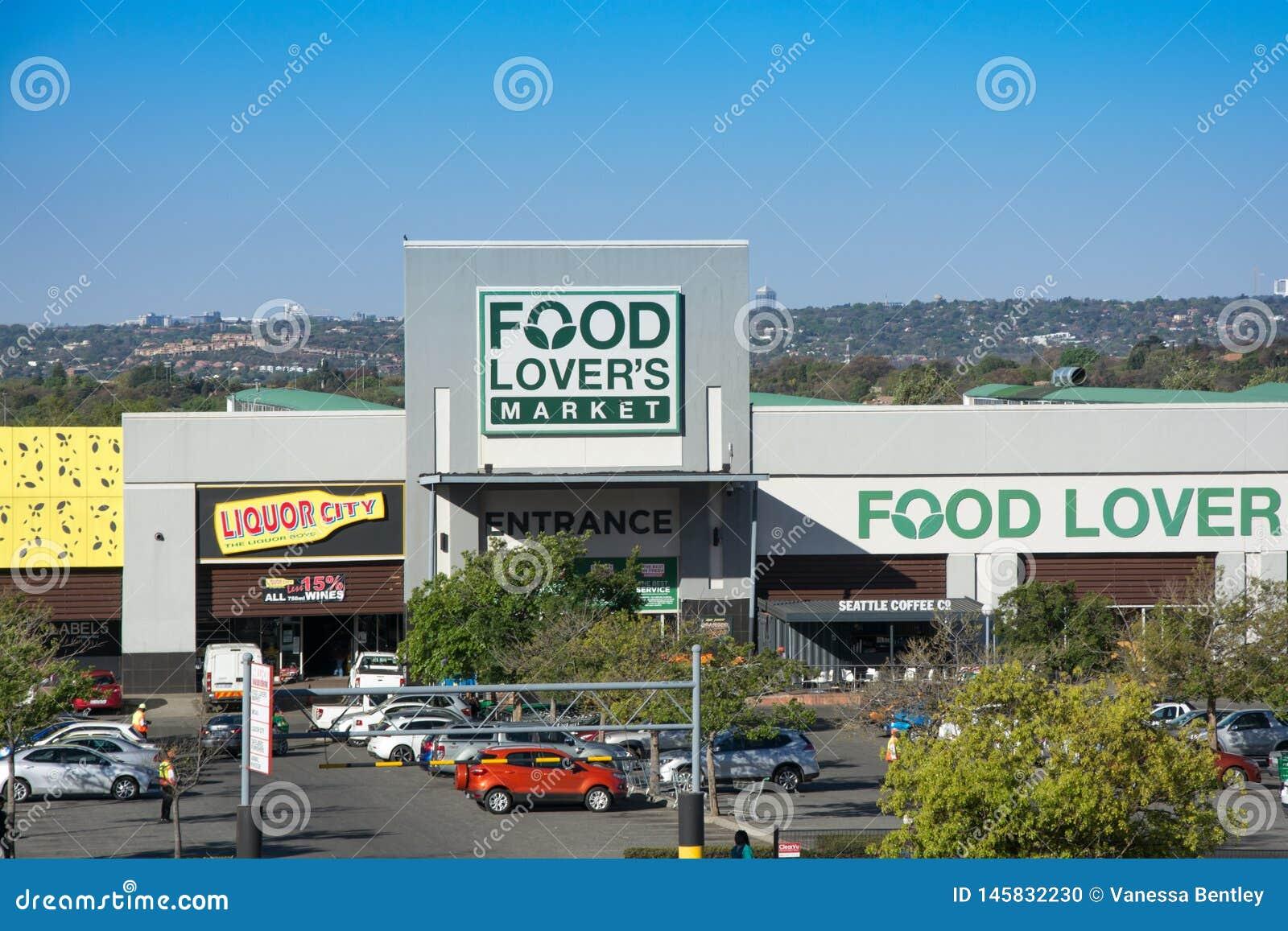 Schaufenster des Nahrungsmittelliebhaber-Marktes in Roodepoort, Johannesburg