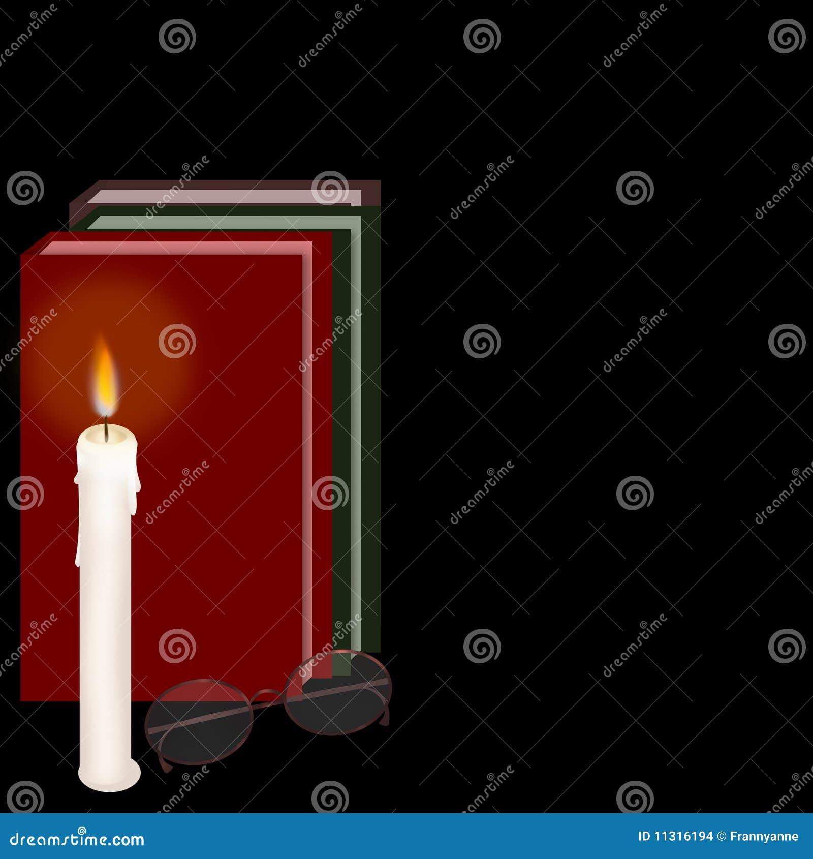 Schauspiel-Bücher und Kerze