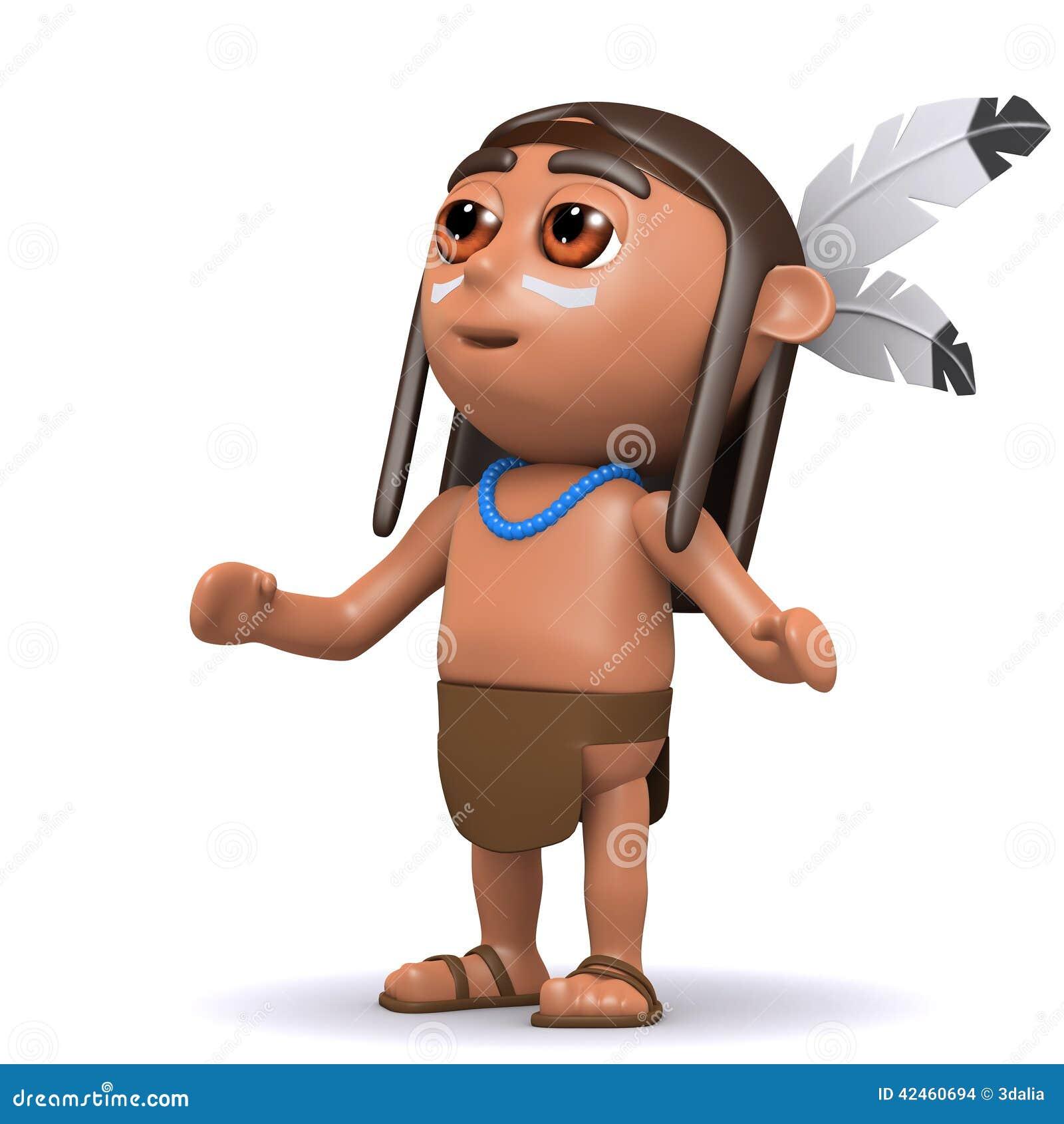 Schaut gebürtiger Indianer 3d zum Himmel