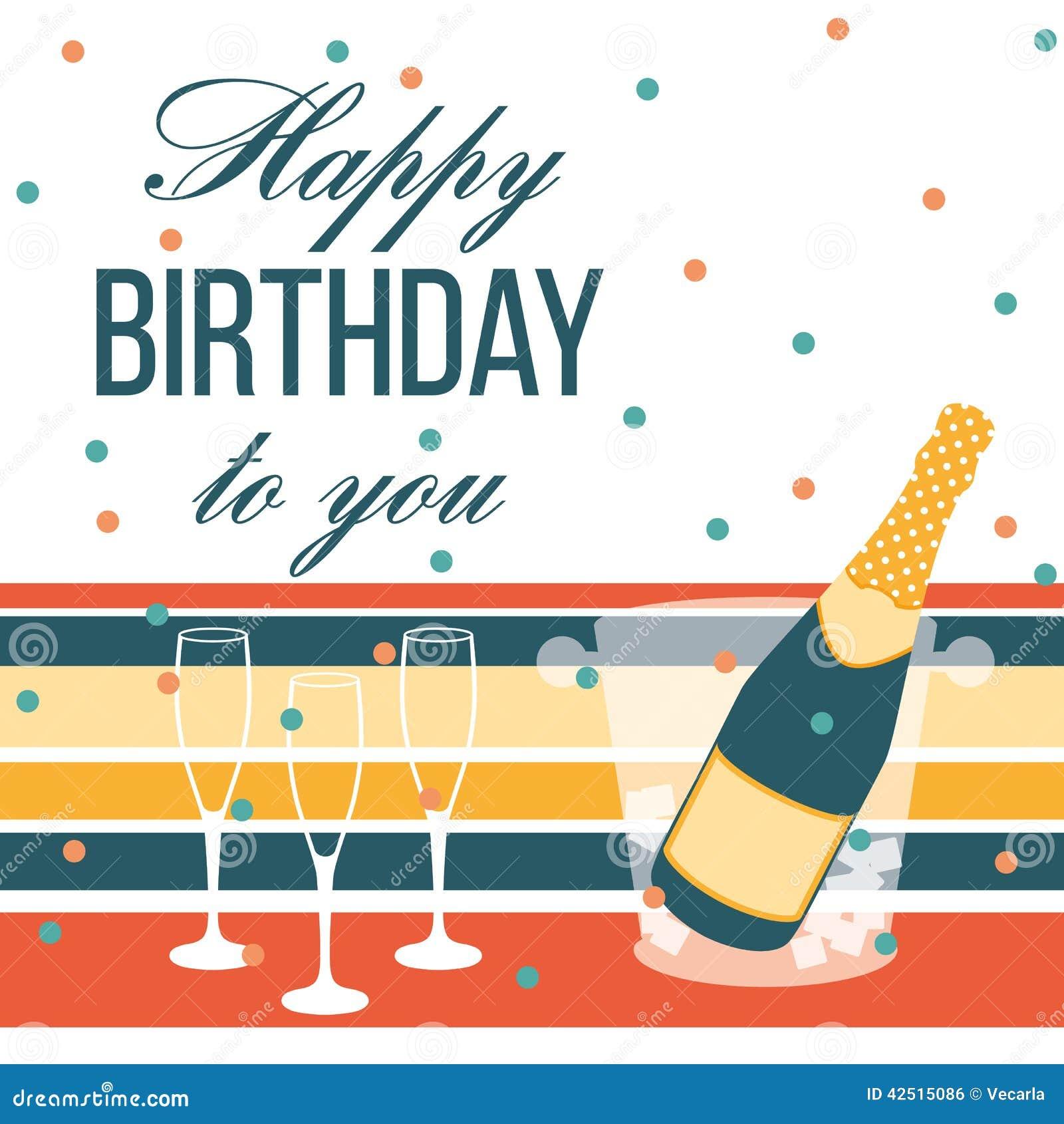 Scheda Di Buon Compleanno Bottiglia E Vetri Di Champagne
