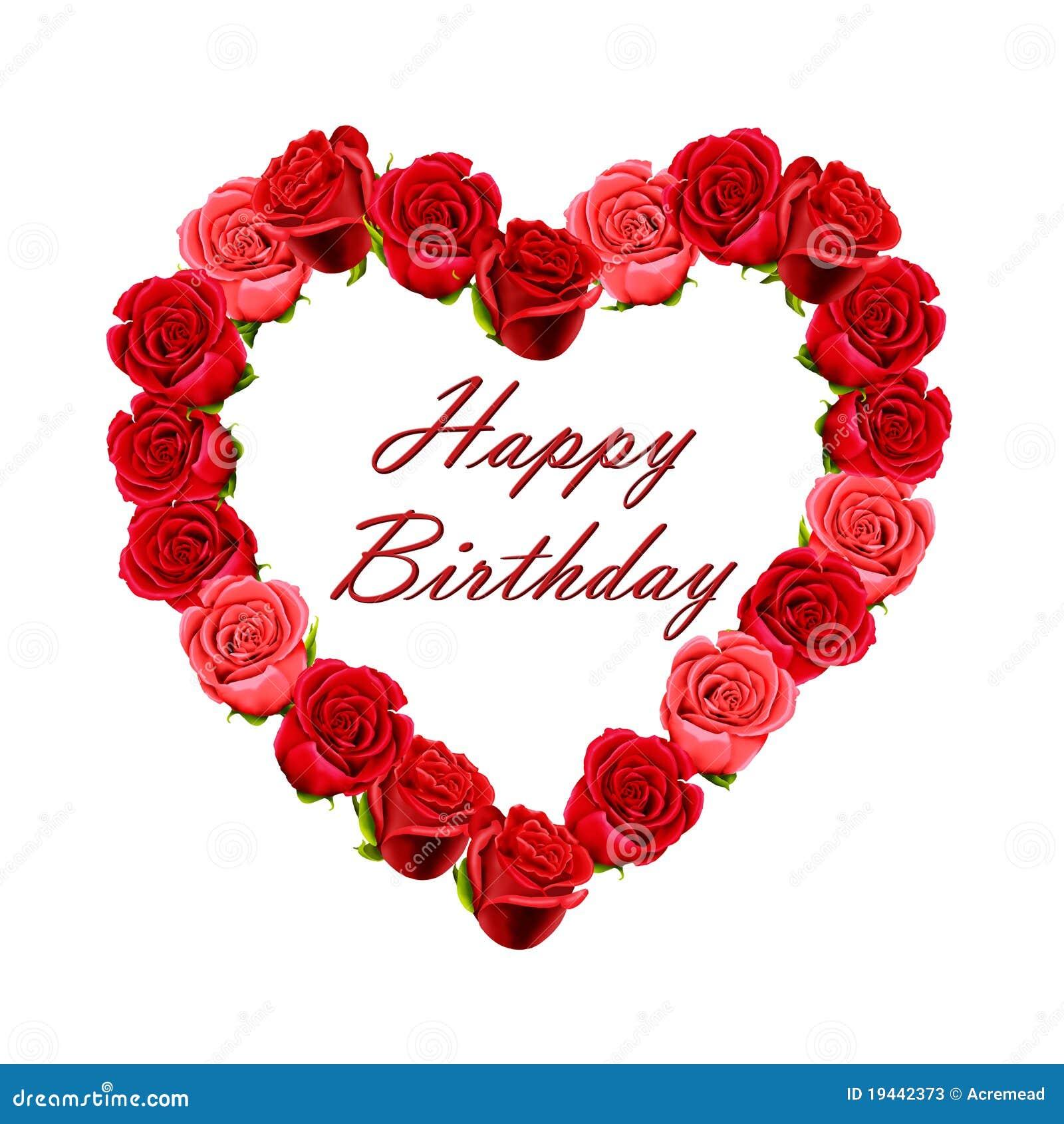 Scheda Di Buon Compleanno Con Le Rose Illustrazione Di Stock