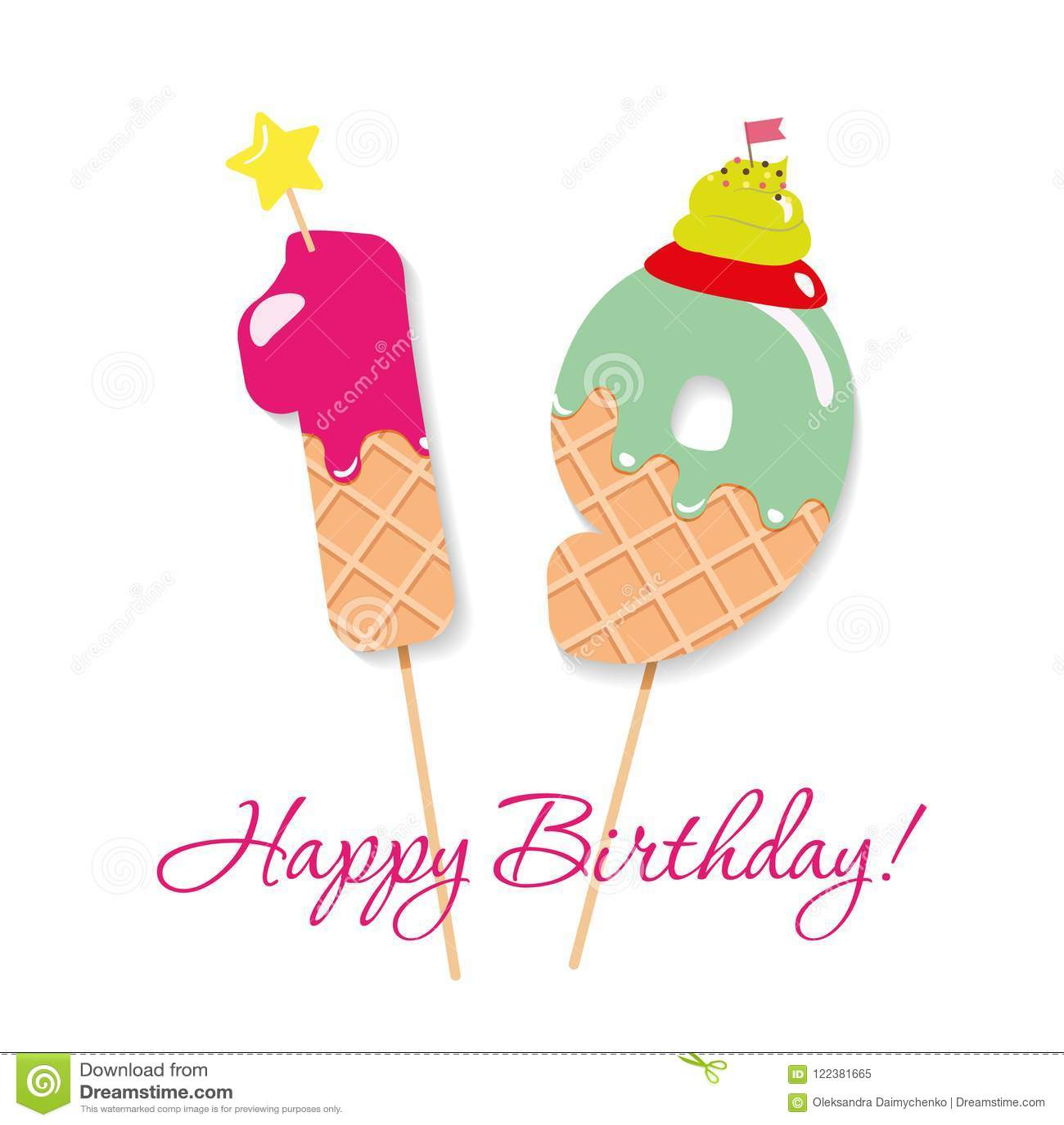 Scheda Di Buon Compleanno Numeri Festivi 19 Del Dolce Paglie Di