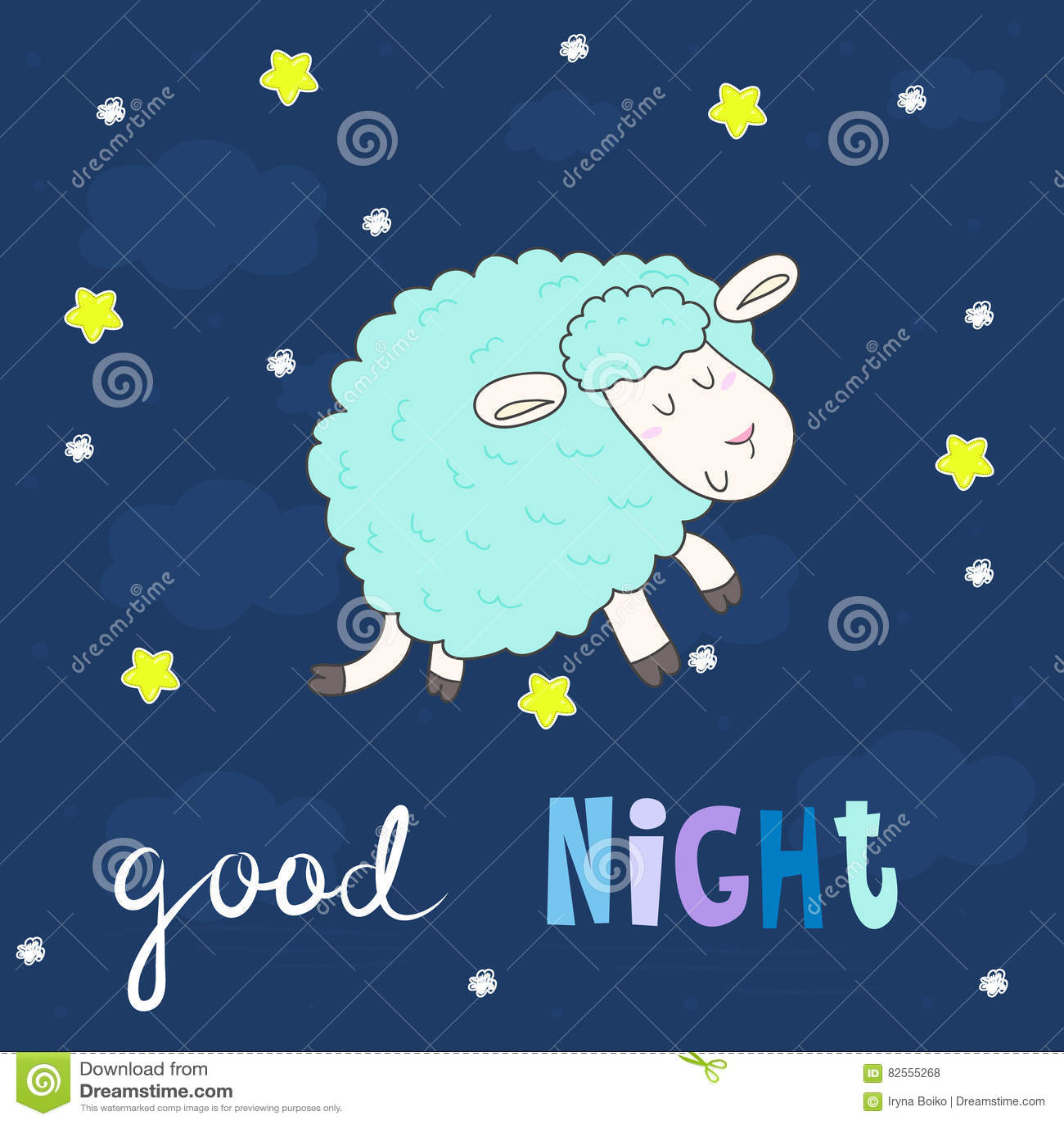 Scheda Di Buona Notte Pecore Disegnate A Mano Sveglie Nello