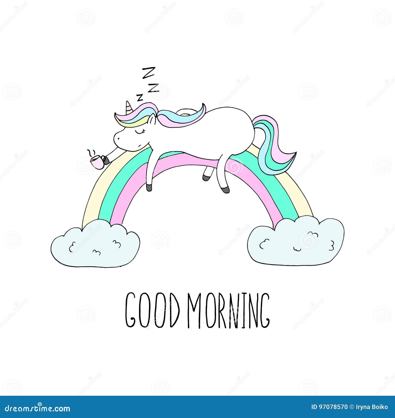 Scheda di buongiorno unicorn unicorn sveglio addormentato - Modelli di ghirlanda stampabili ...