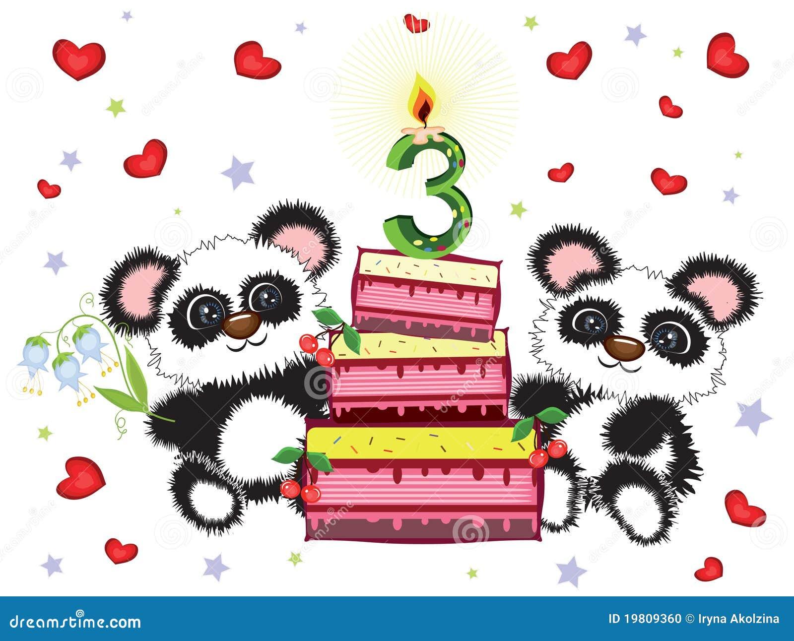 Favori Scheda Di Compleanno, Tre Anni Illustrazione Vettoriale - Immagine  BA89