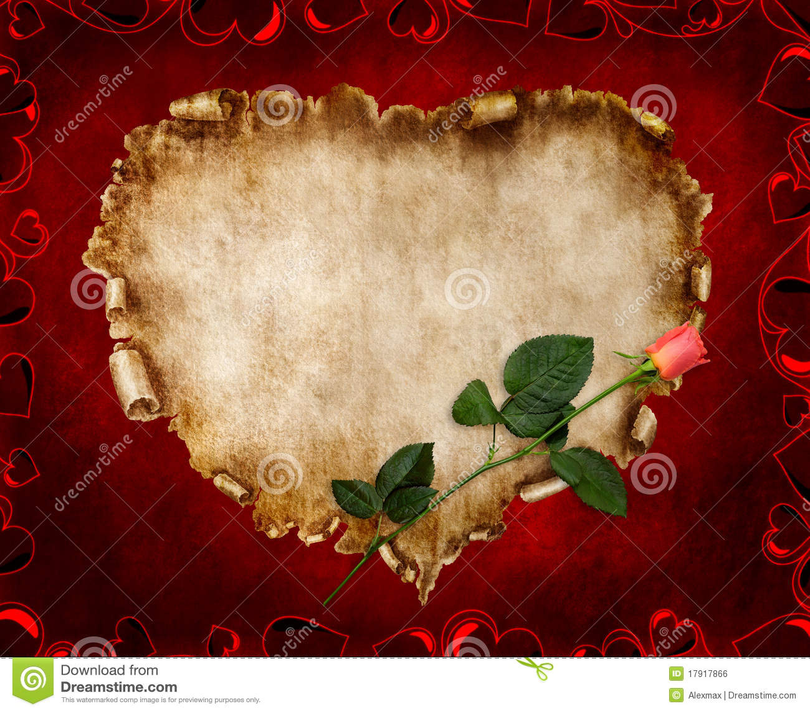 Scheda stilizzata del biglietto di S. Valentino della bella annata