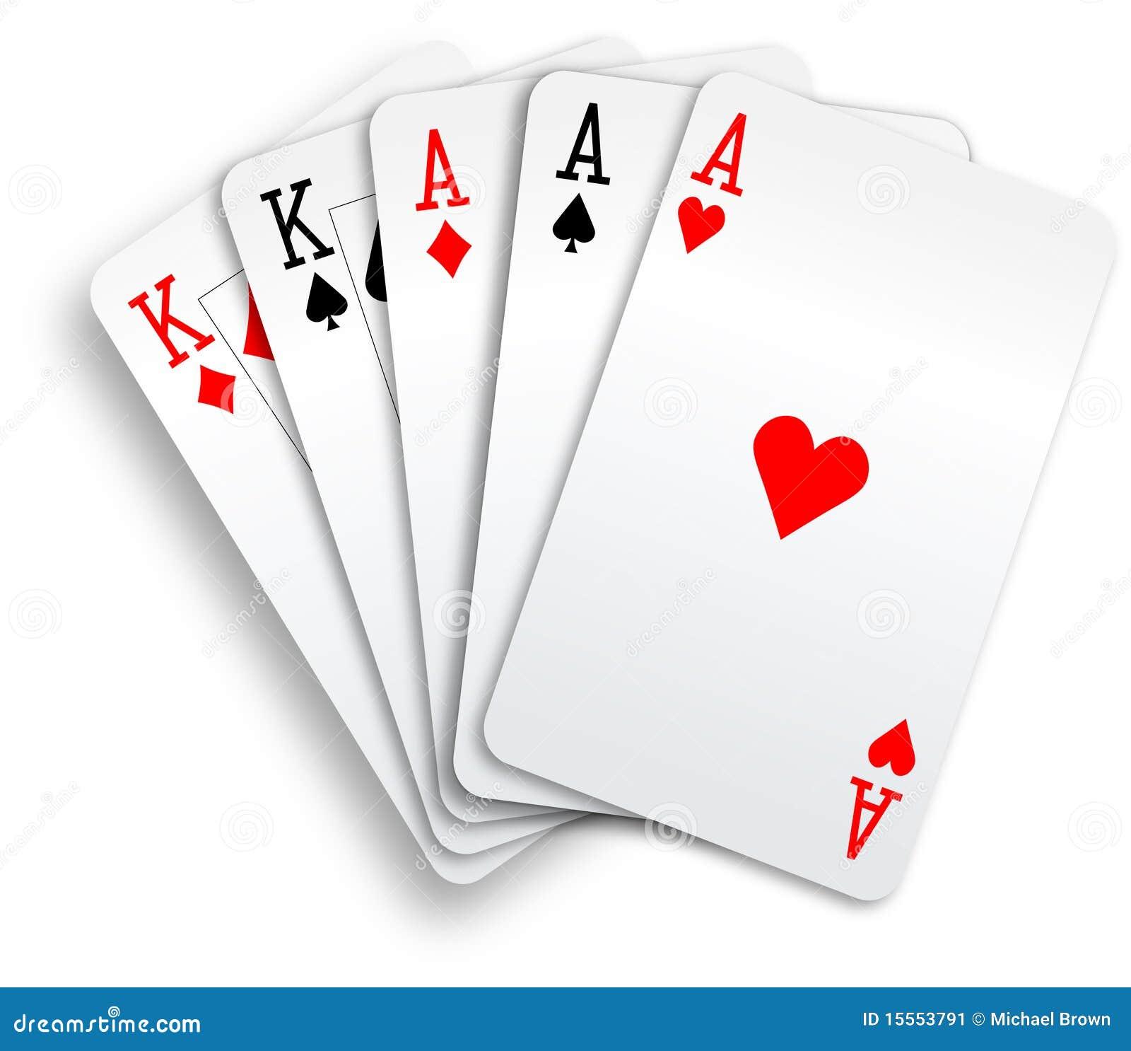 Schede di gioco degli assi e dei re della camera piena for Design della camera degli ospiti