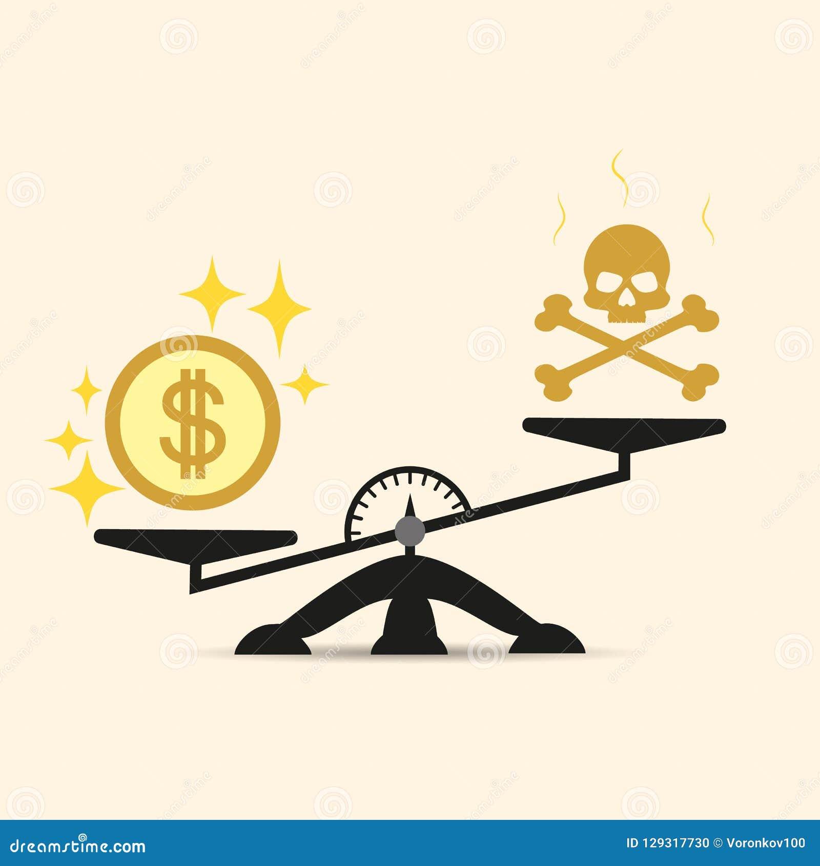 Schedel en Geld op Twee Pan Balance Vectorconcept keus in de schalen van geld of dood Het geld is belangrijker dan het leven