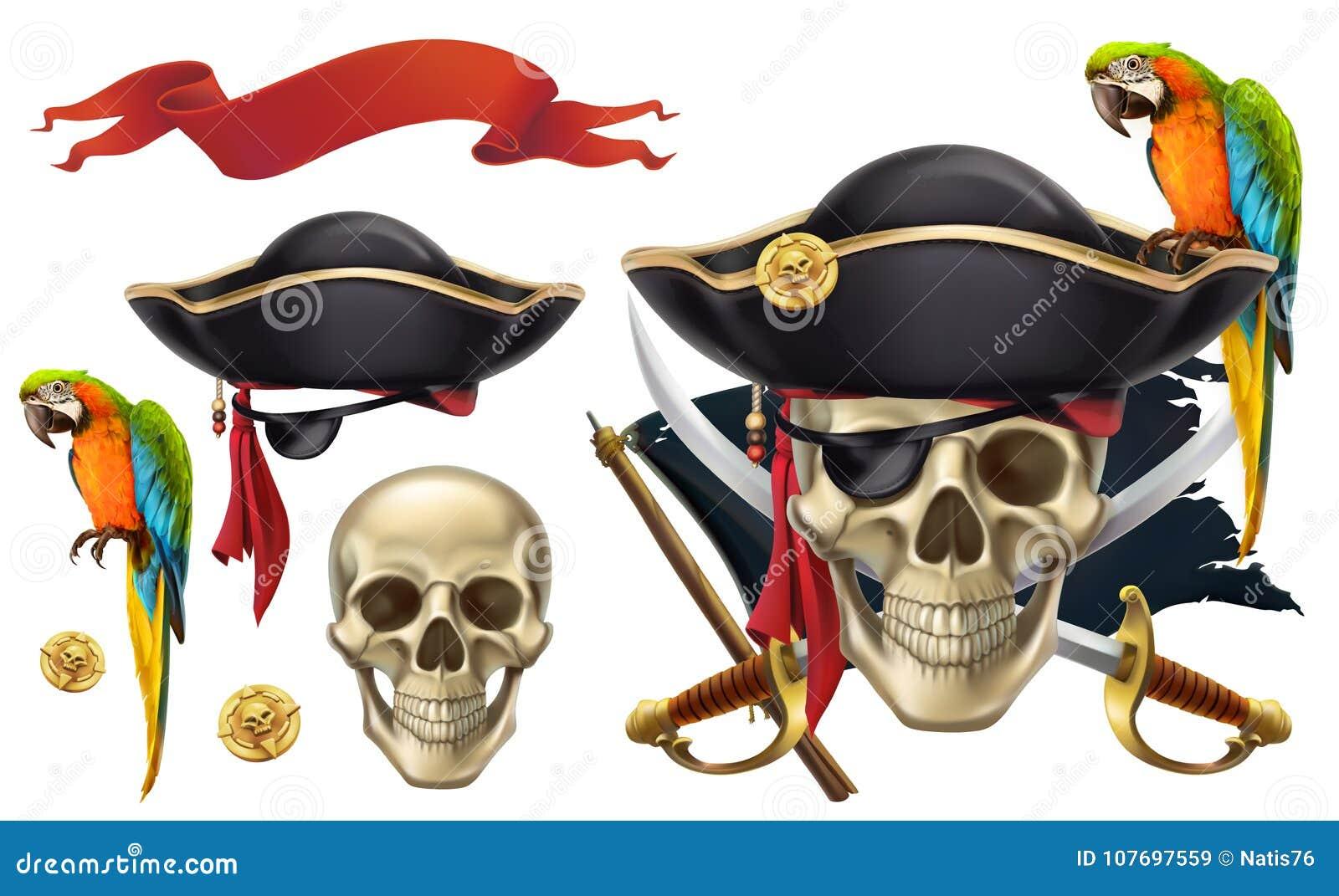 Schedel en papegaai piraatembleem Drie kleurenpictogrammen op kartonmarkeringen