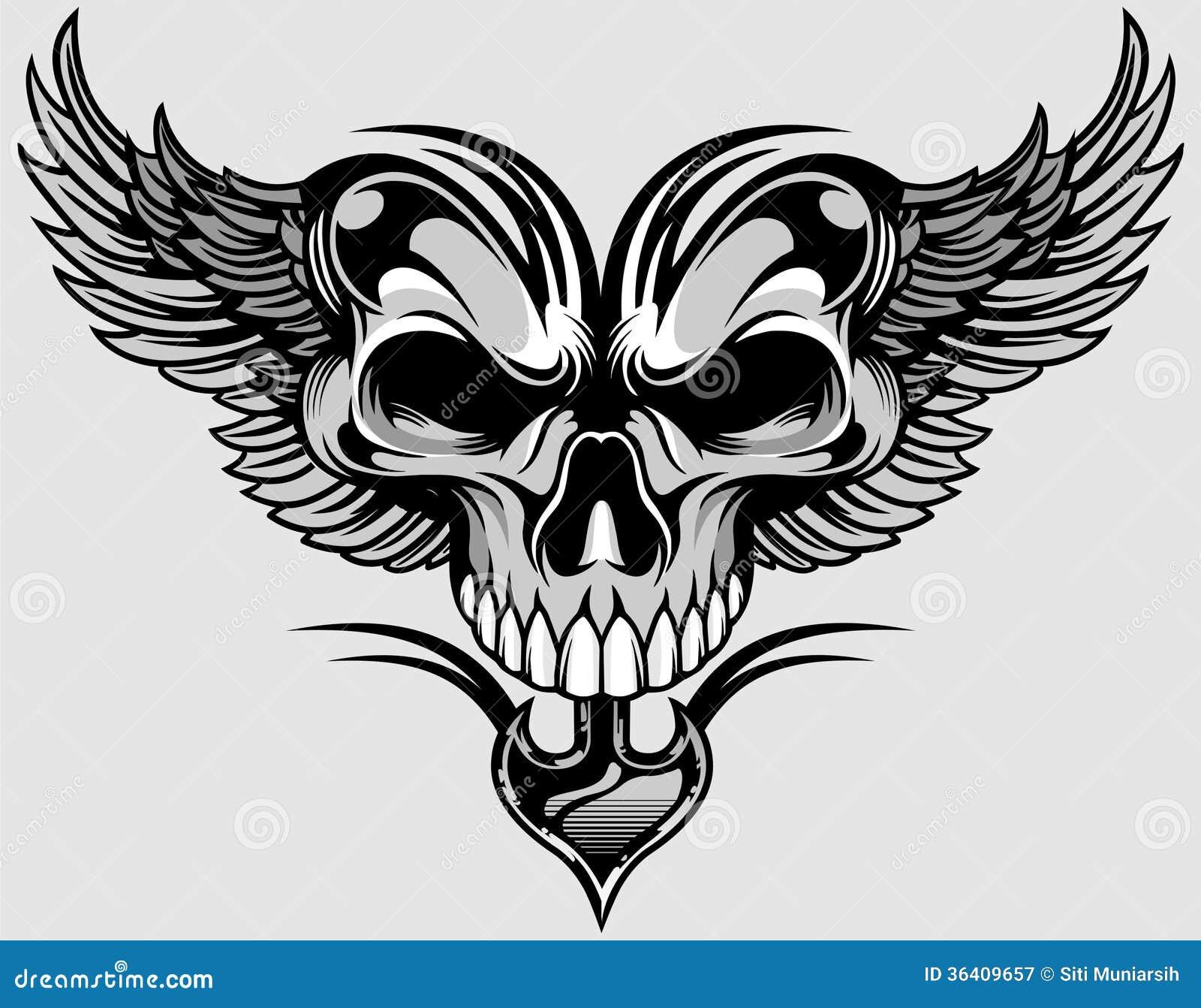 Schedel en vleugels