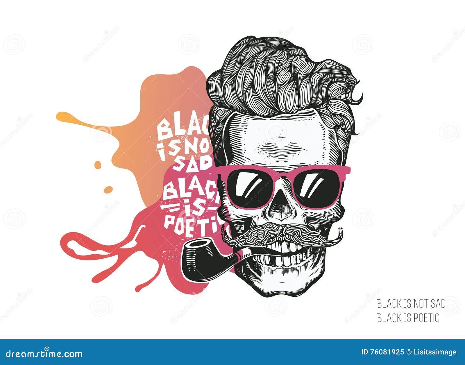 Schedel Hipstersilhouet met snorglazen en pijp op een kleurrijke plonsachtergrond Vectorillustratie in moderne en