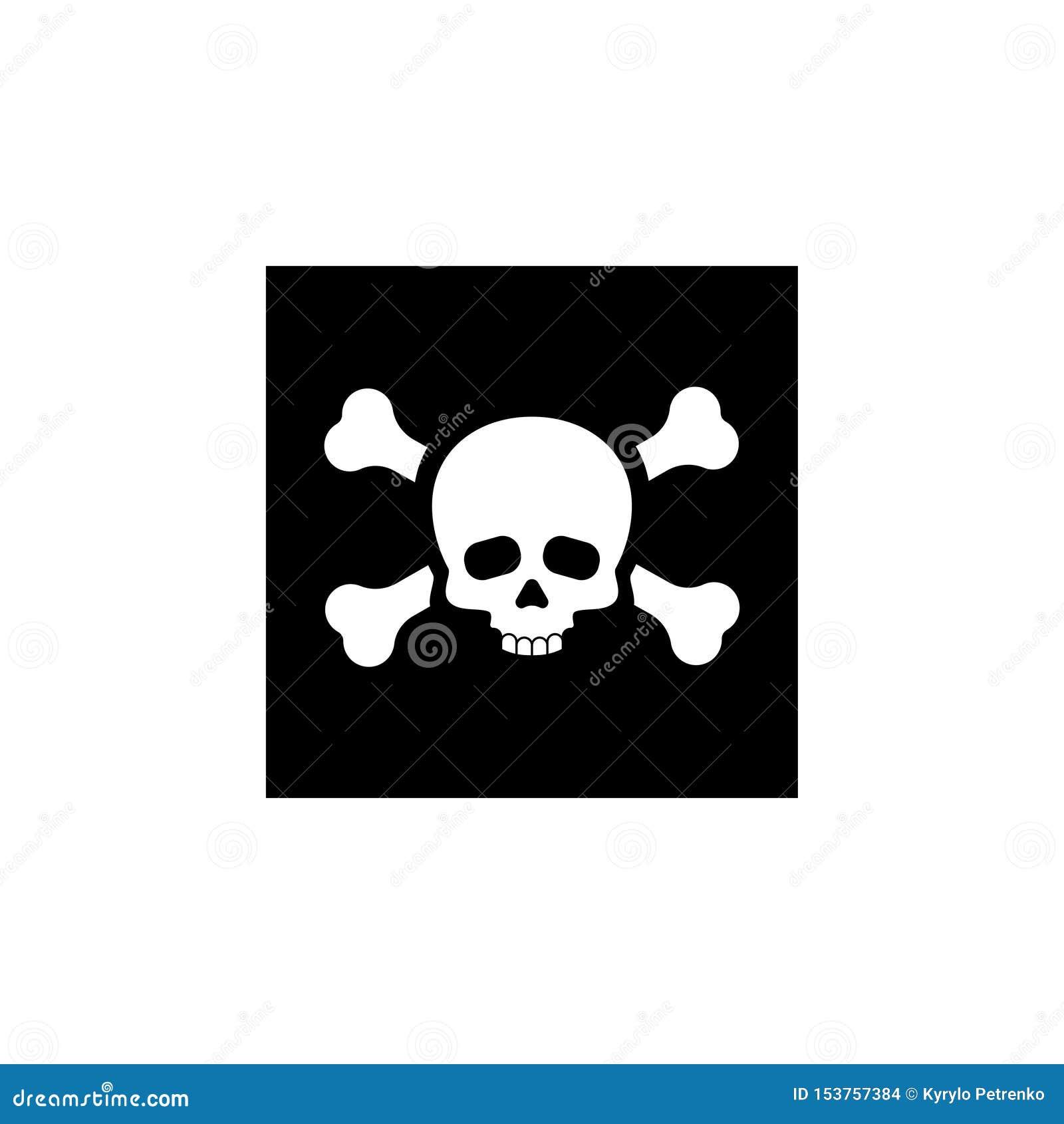 Schedel voor vergiftpictogram of piratenvlag