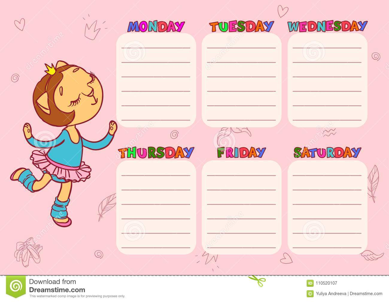 download daily schedule for children vector template for school with cute cat girl stock