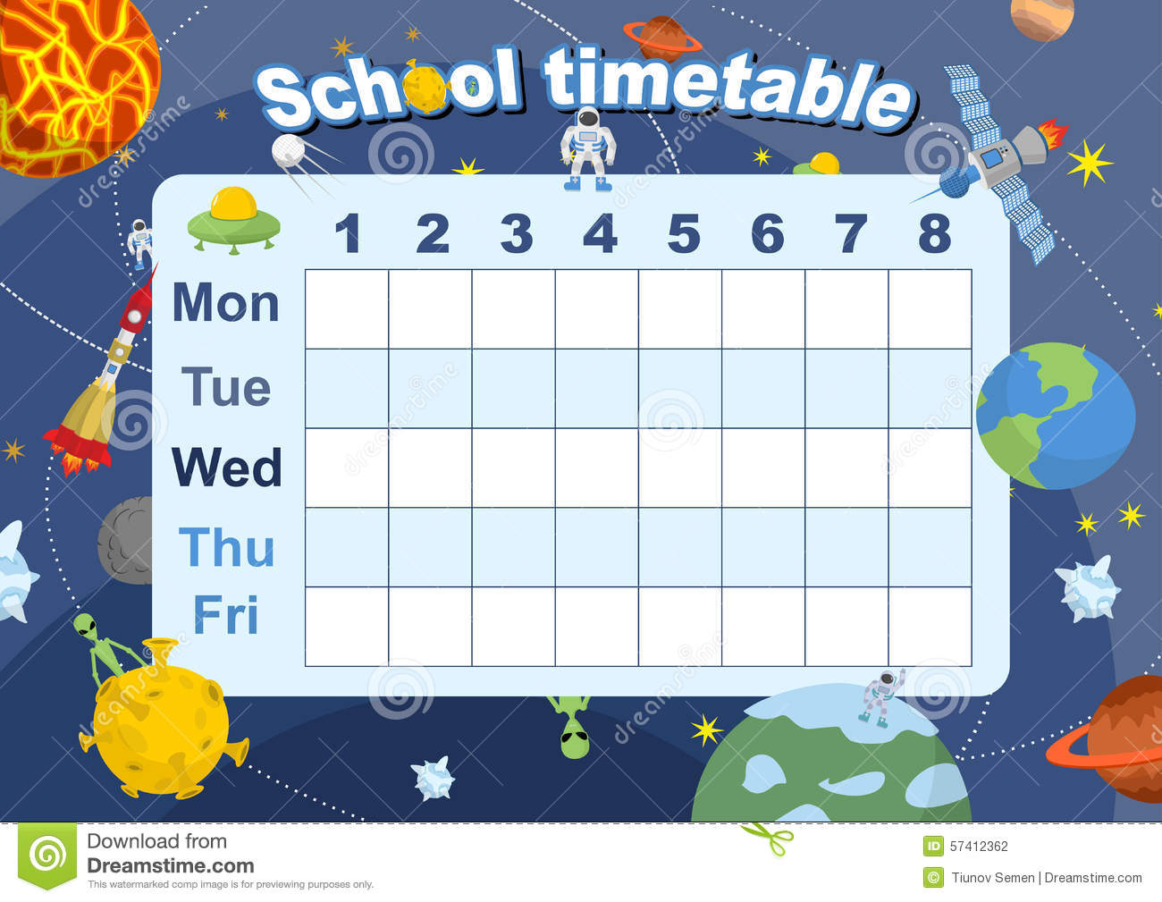 Schedule School Timetable On Theme Of Space And Galaxy