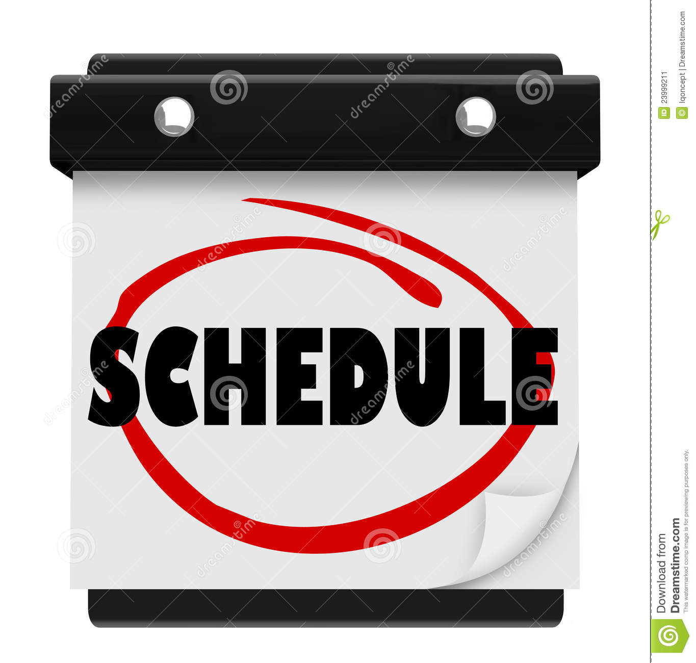 Schedule Word Wall Calendar Remember Appointments Stock