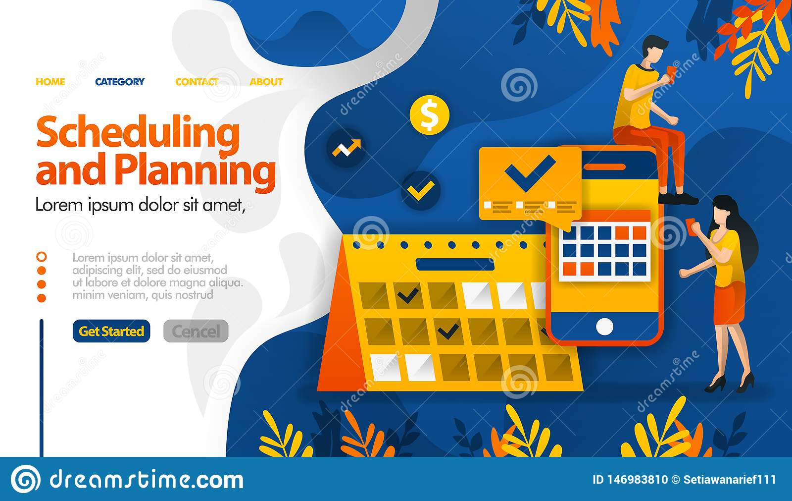 Scheduling and Planning apps, planning trips, determining meetings and activities vector illustration concept can be use for, land