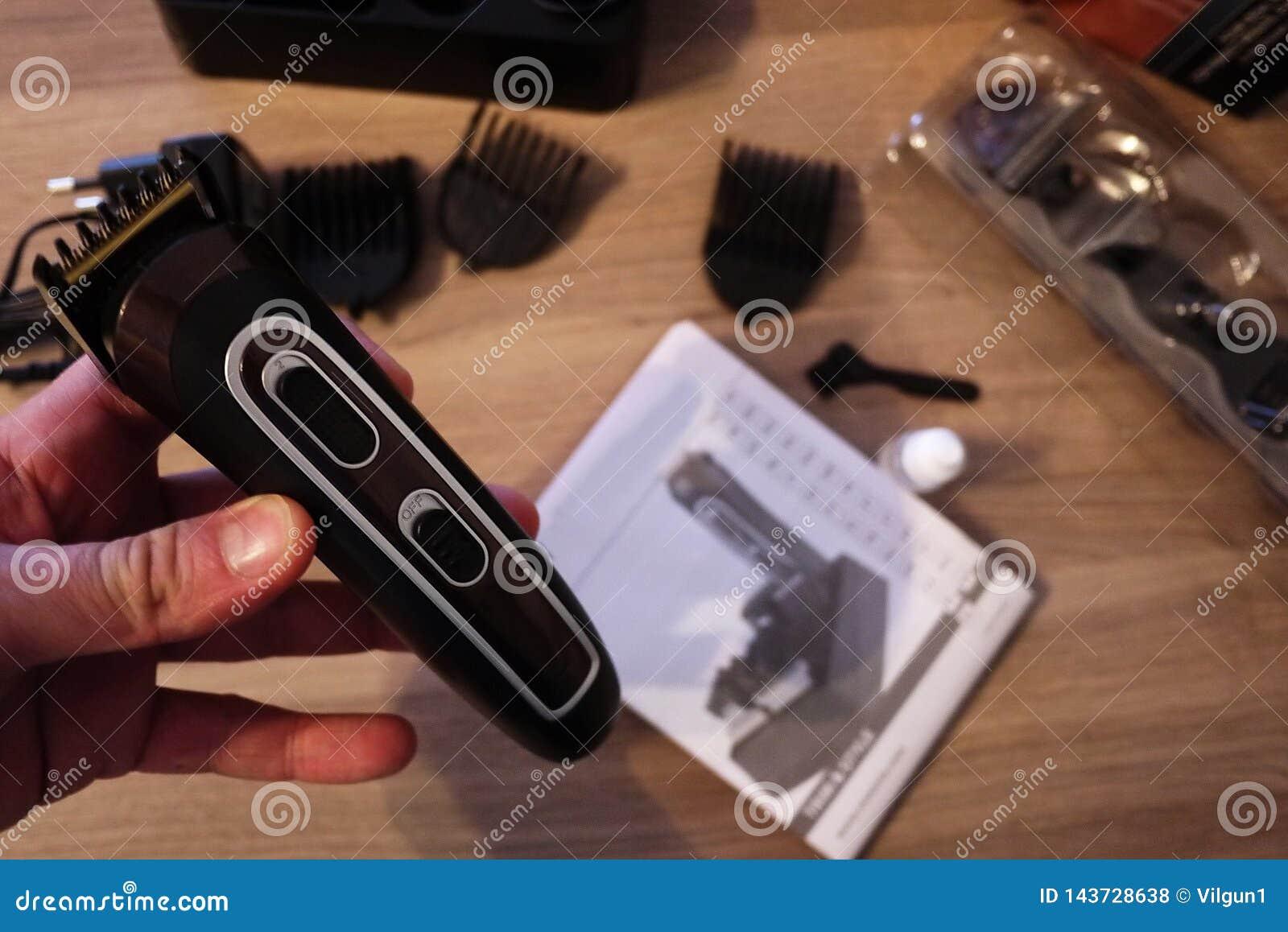 Scheerapparaat voor het scheren en kapsels, details en close-up