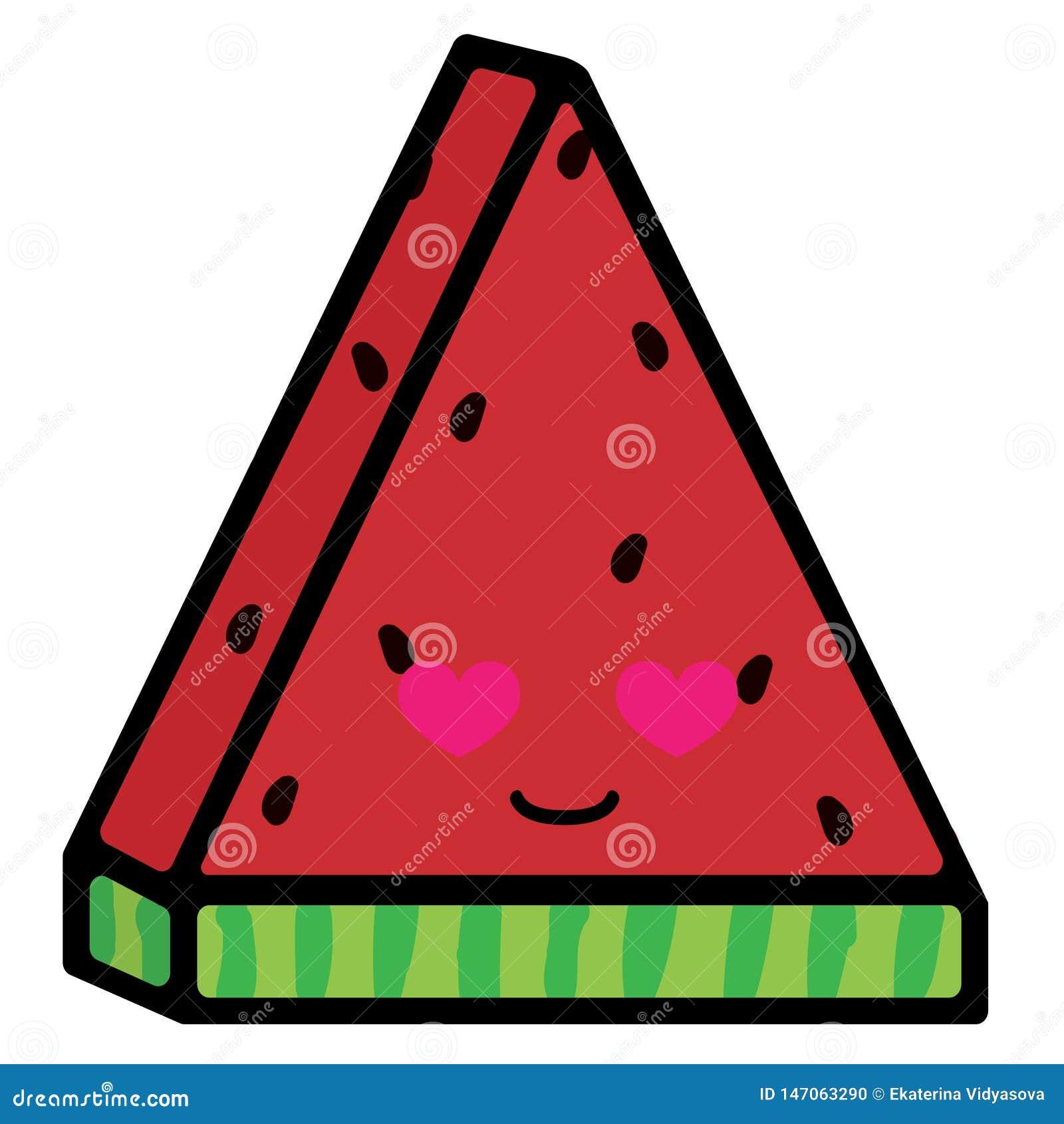 Scheibe der Wassermelone mit Gef?hlen Liebevolles L?cheln Vektorillustration in der Karikaturart