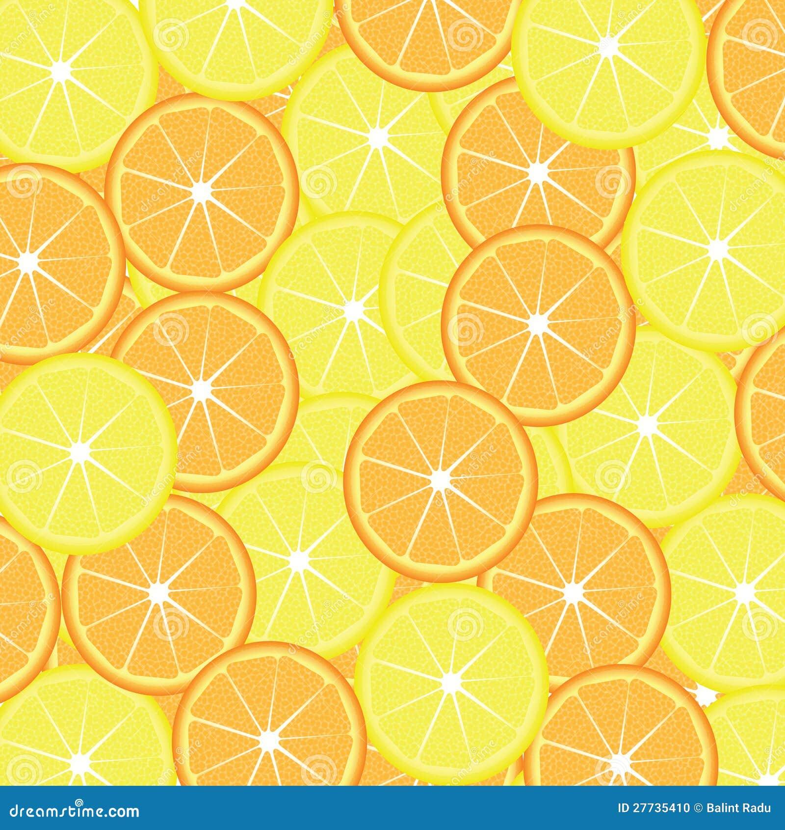Scheiben der Zitrone und der Orange