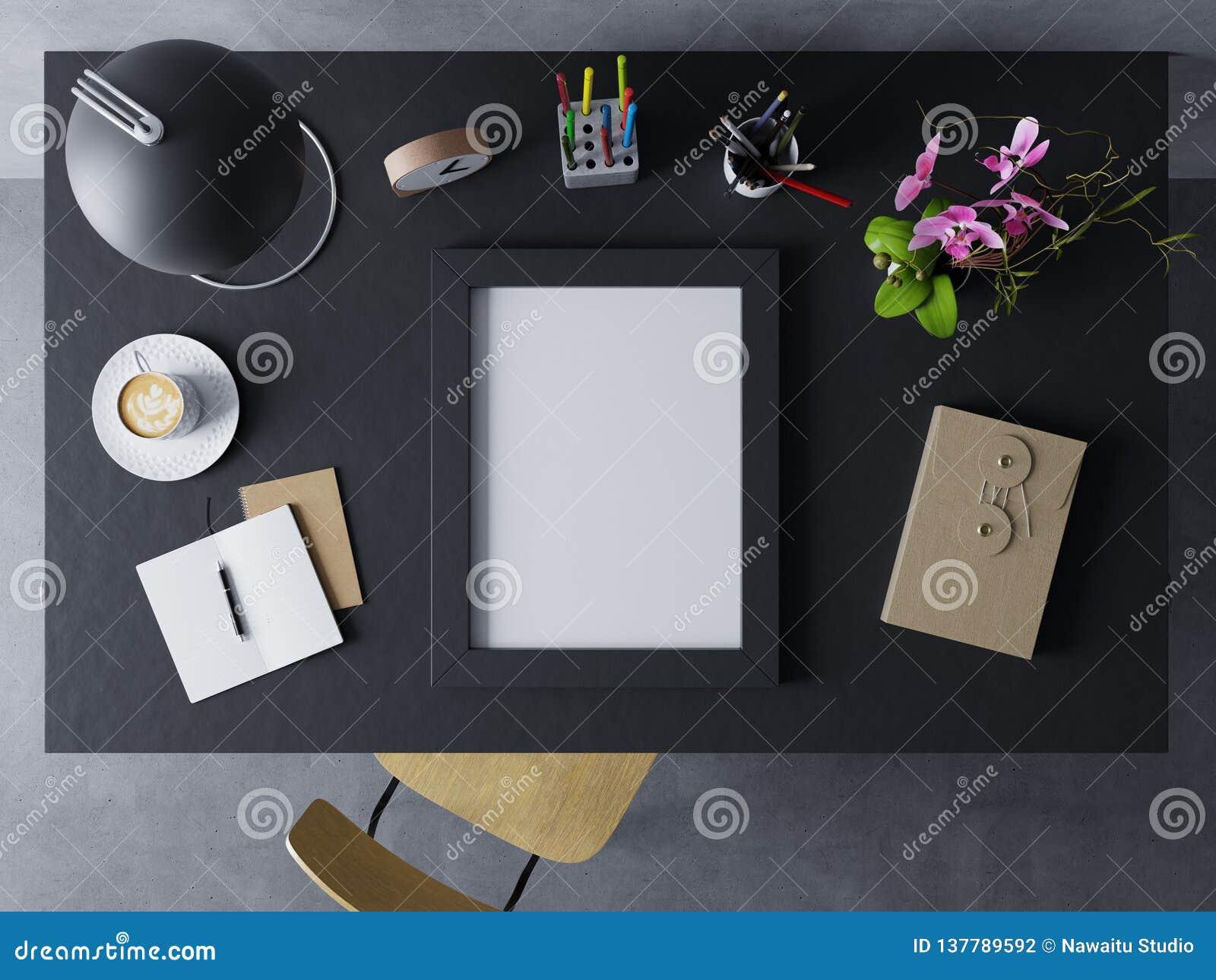 Spott 3d herauf die Entwurfsschablone, zum des Entwurfs des leeren Plakats im modernen Arbeitsplatz im horizontalen schwarzen Rah