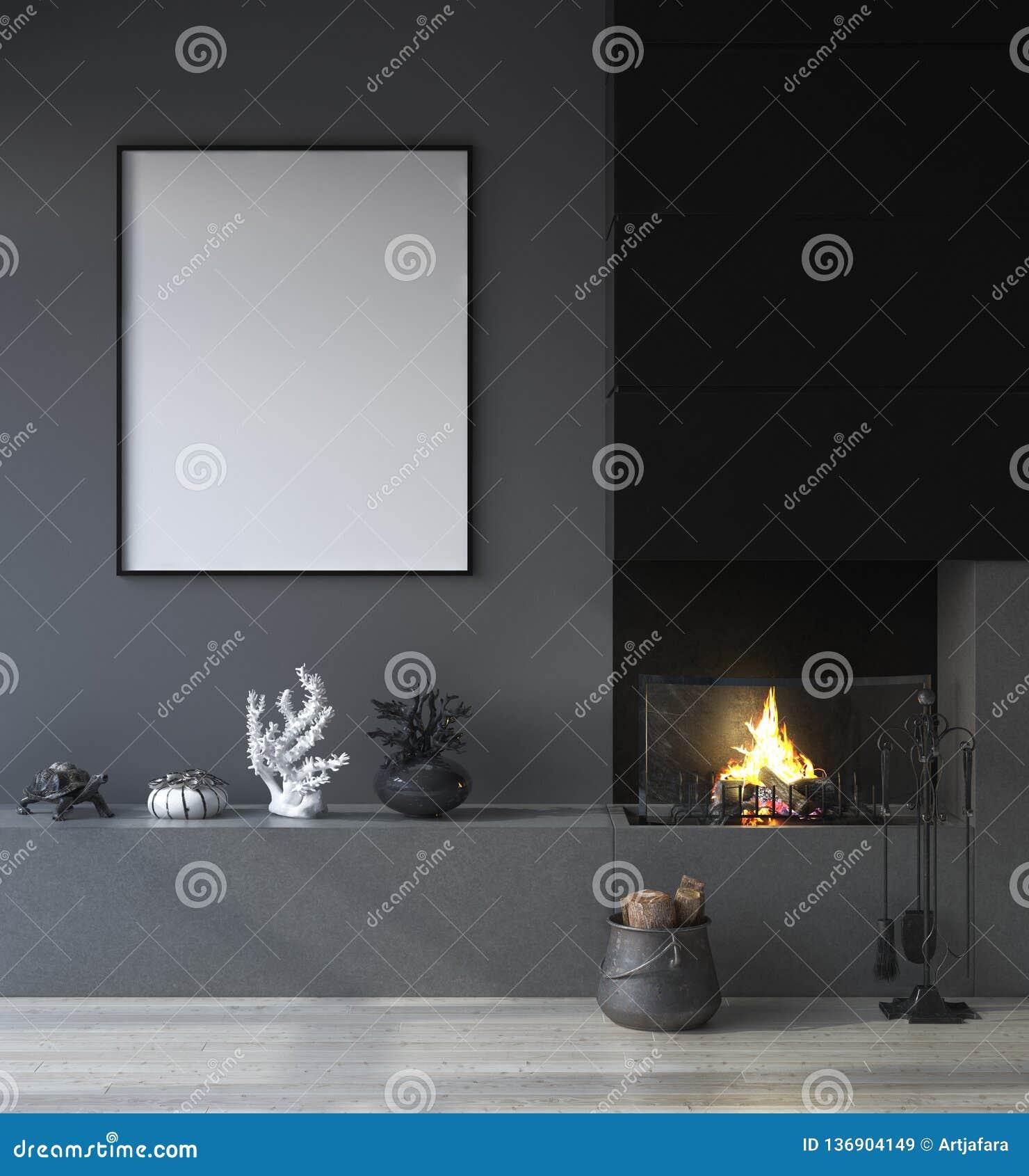 Scheinbarer hoher Plakatrahmen im dunklen Innenhintergrund mit Kamin