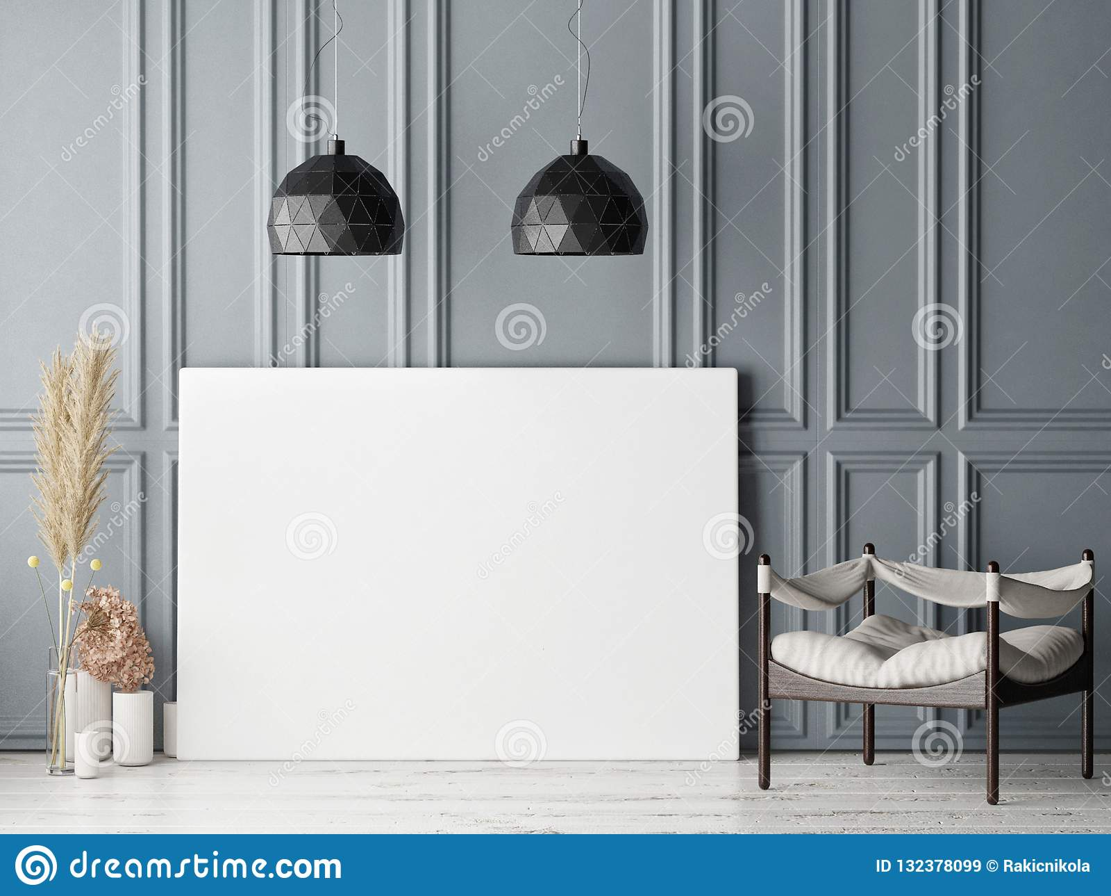 Scheinbares hohes Plakat im skandinavischen Hippie-Wohnzimmerhintergrund