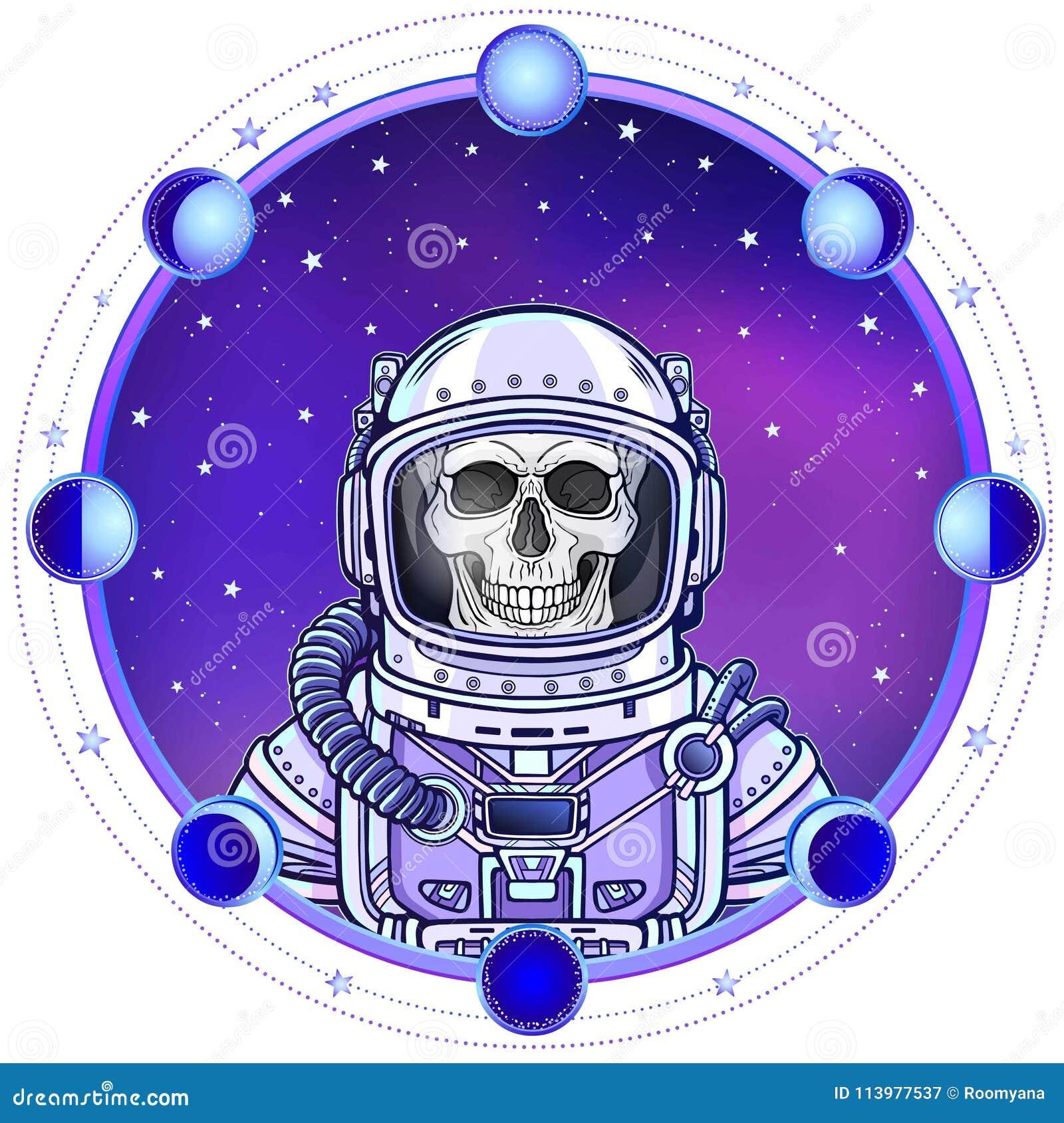 Scheletro dell astronauta di animazione in una tuta spaziale r
