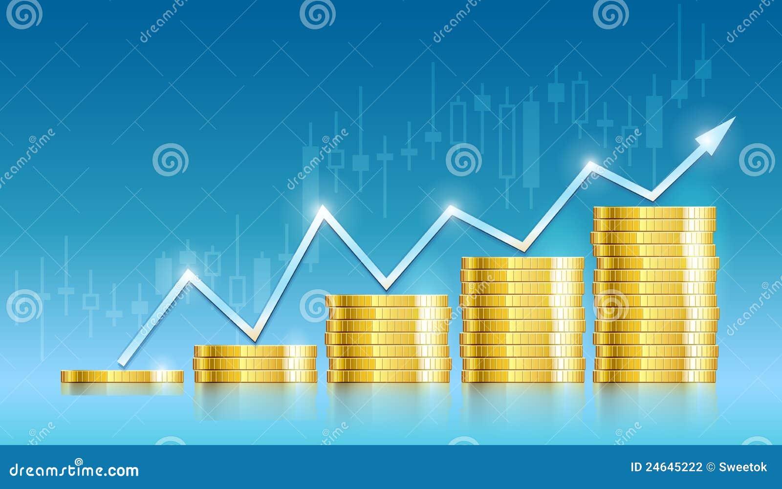Schema commerciale con i soldi dorati delle monete